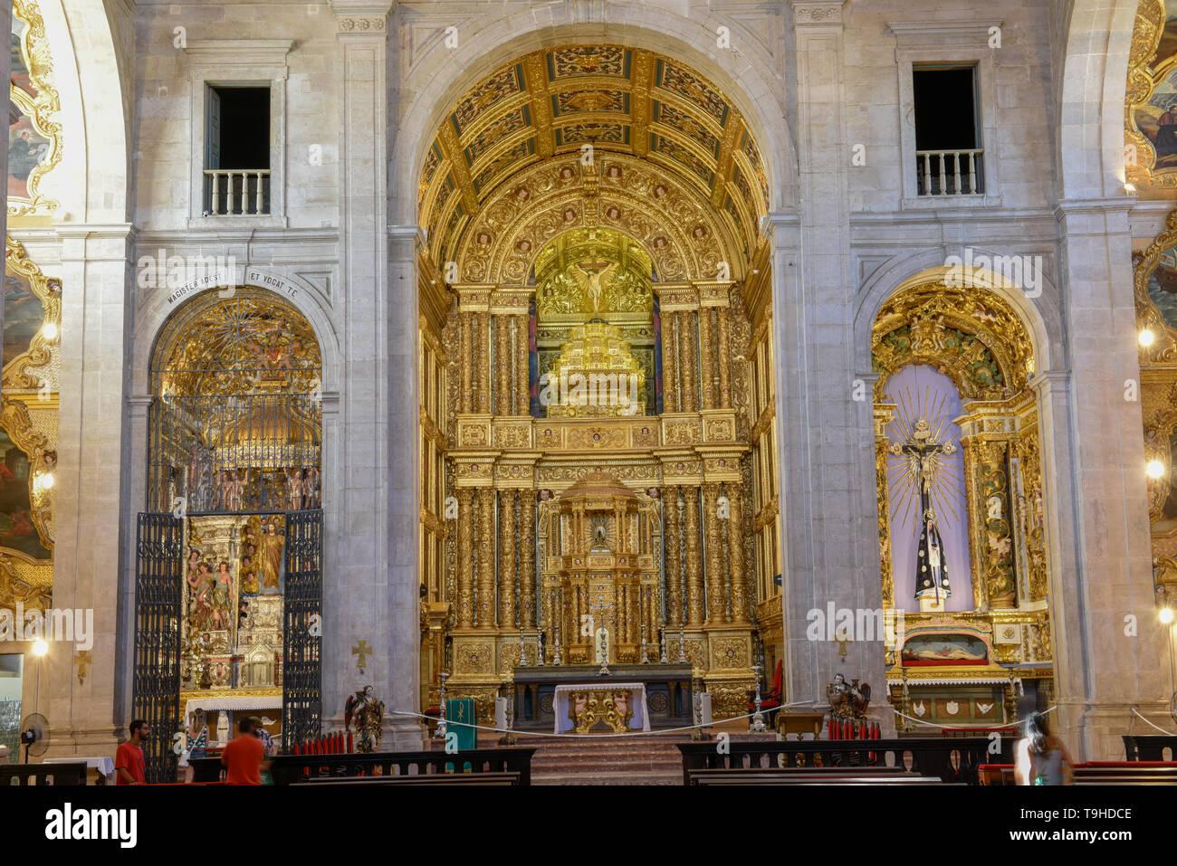 Salvador, Brazil - 3 february 2019: interior of the Cathedral Basilica of Salvador Bahia on Brazil - Stock Image