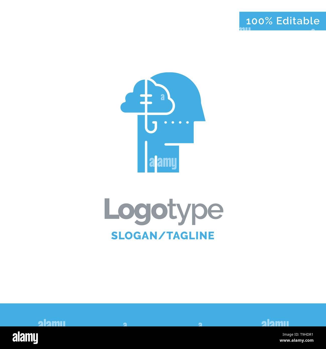 Borrowing Ideas, Addiction, Catch, Habit, Human Blue Solid Logo Template. Place for Tagline - Stock Image