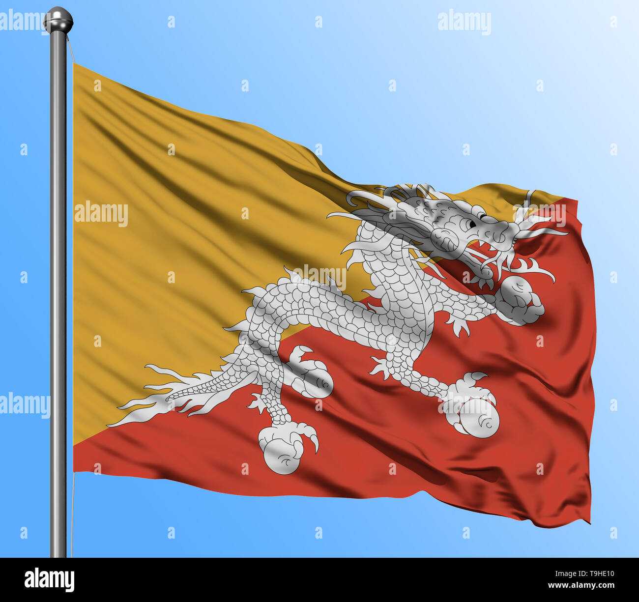 Bhutan flag waving in the deep blue sky background. Isolated national flag. Macro view shot. - Stock Image