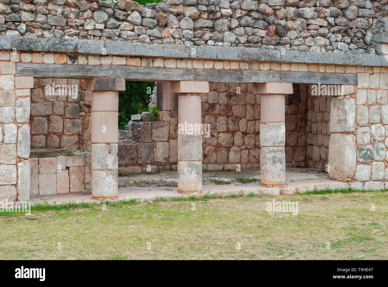 Row of Mayan architectural pillars, in the archaeological area of Ek Balam, on the Yucatan peninsula - Stock Image