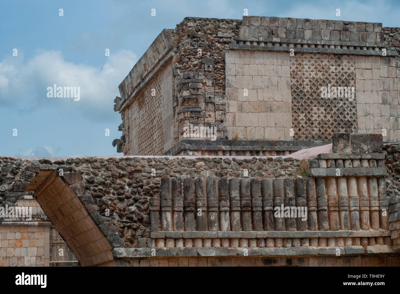 Details of an ancient Mayan building, in the archaeological area of Ek Balam, on the Yucatan peninsula - Stock Image