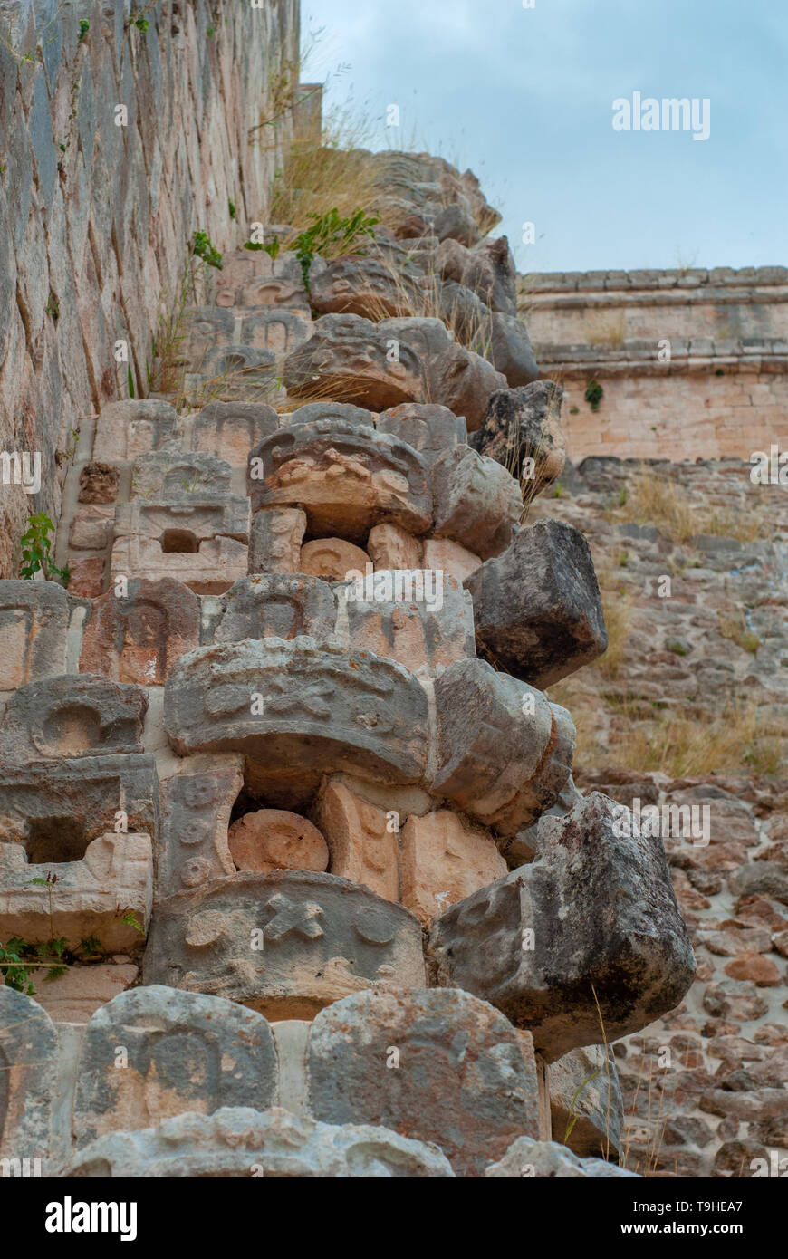Details of the Mayan stone decorations, in the archaeological area of Ek Balam, on the Yucatan peninsula - Stock Image
