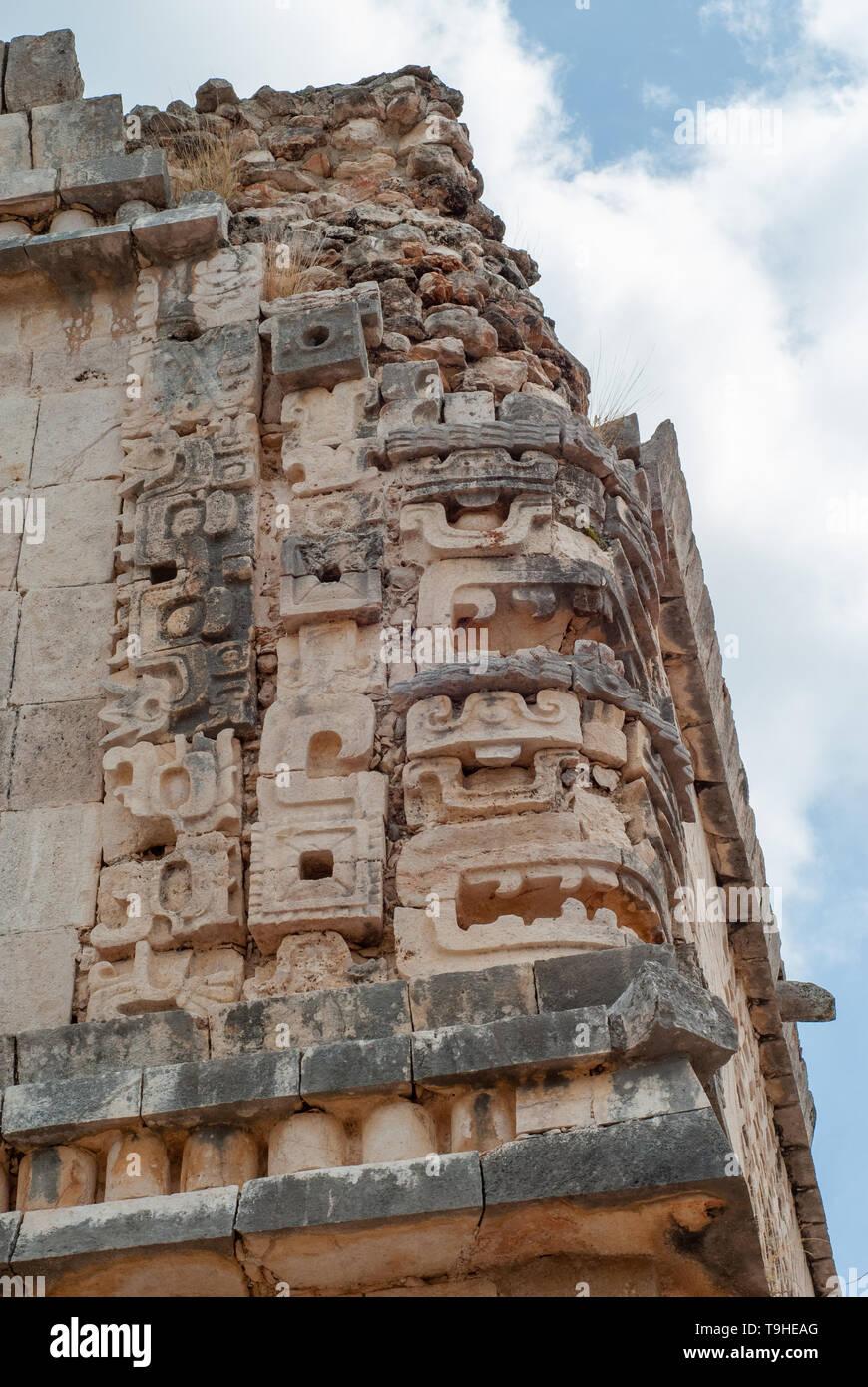 Ornamental sculptures of a Mayan temple, of the Ek Balam archaeological area, in the Yucatan peninsula - Stock Image
