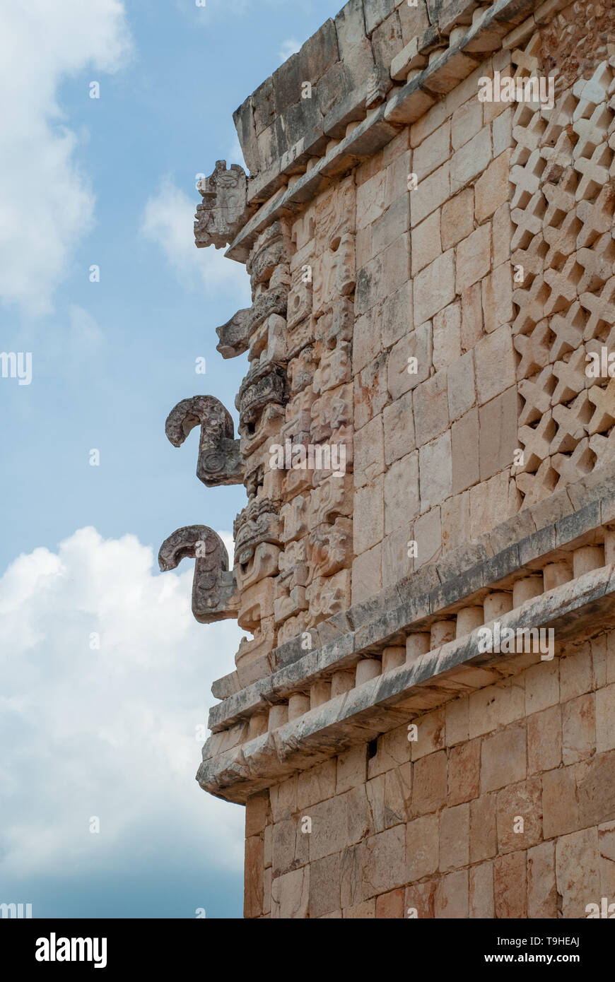 Decorations of a Mayan temple, symbolizing elephants, of the archaeological area of Ek Balam, in the Yucatan peninsula - Stock Image