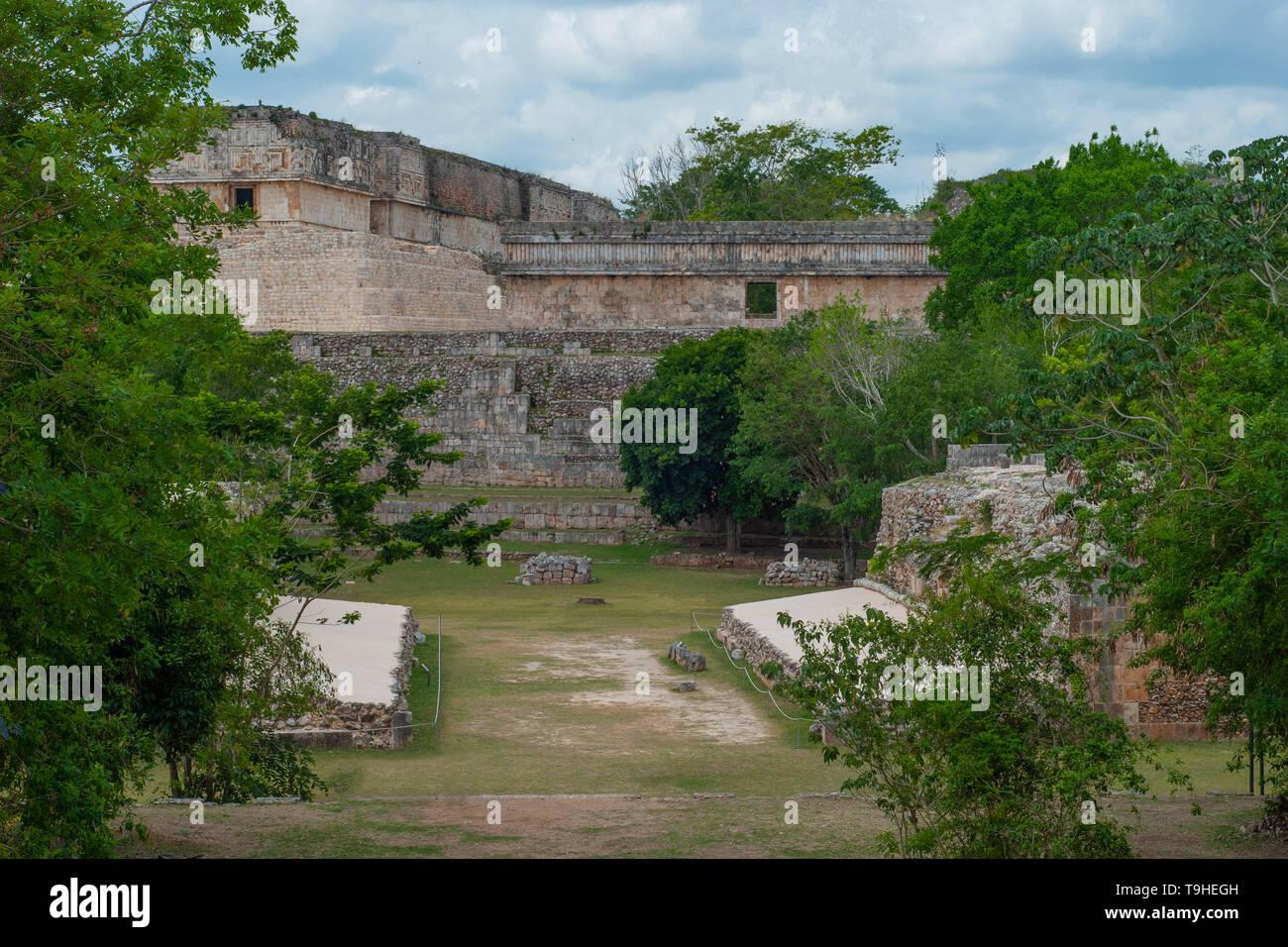View of the Mayan archaeological area of Ek Balam, on the Yucatan peninsula - Stock Image