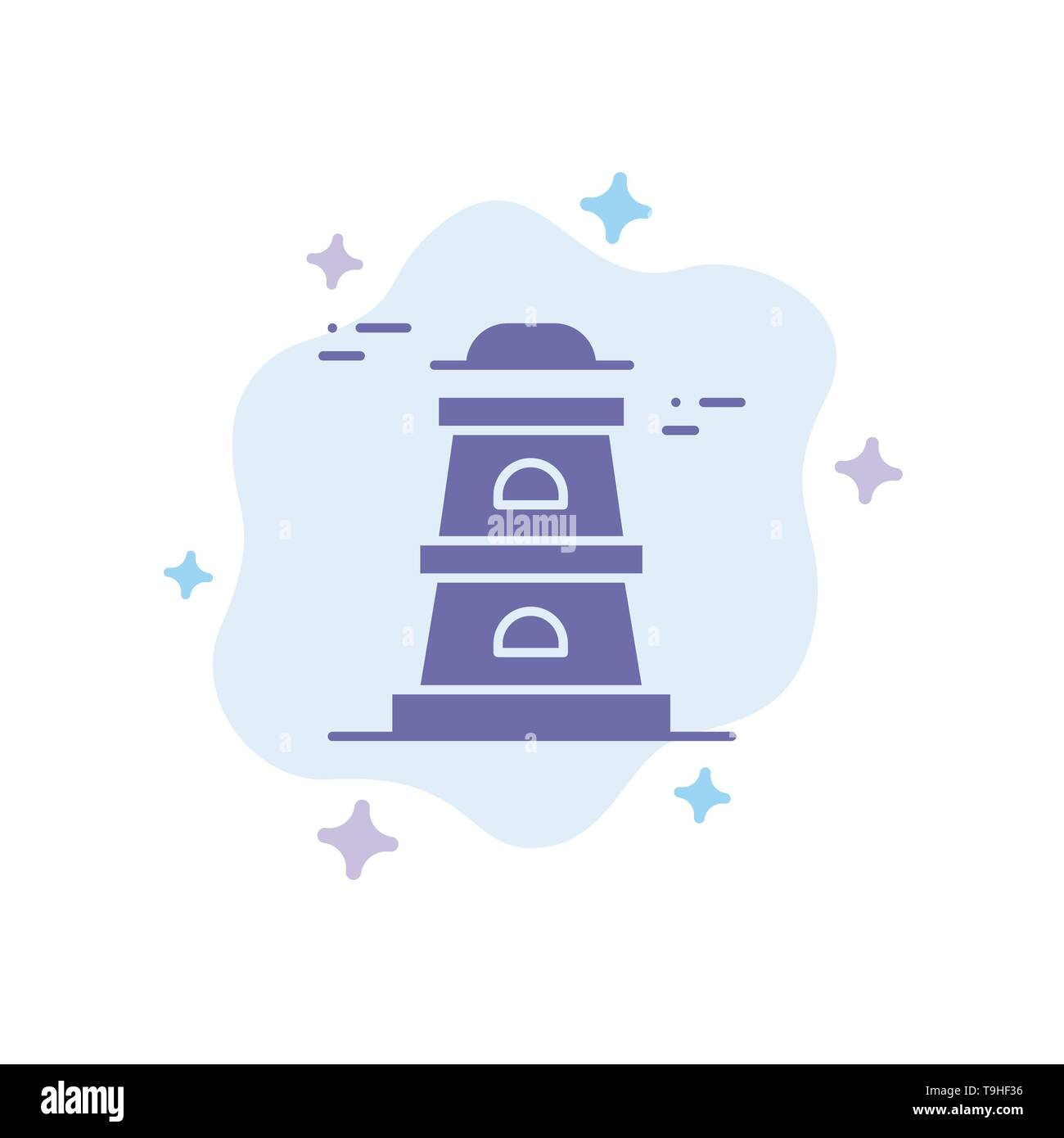 Observatory, Tower, Watchtower Blue Icon on Abstract Cloud Background - Stock Vector