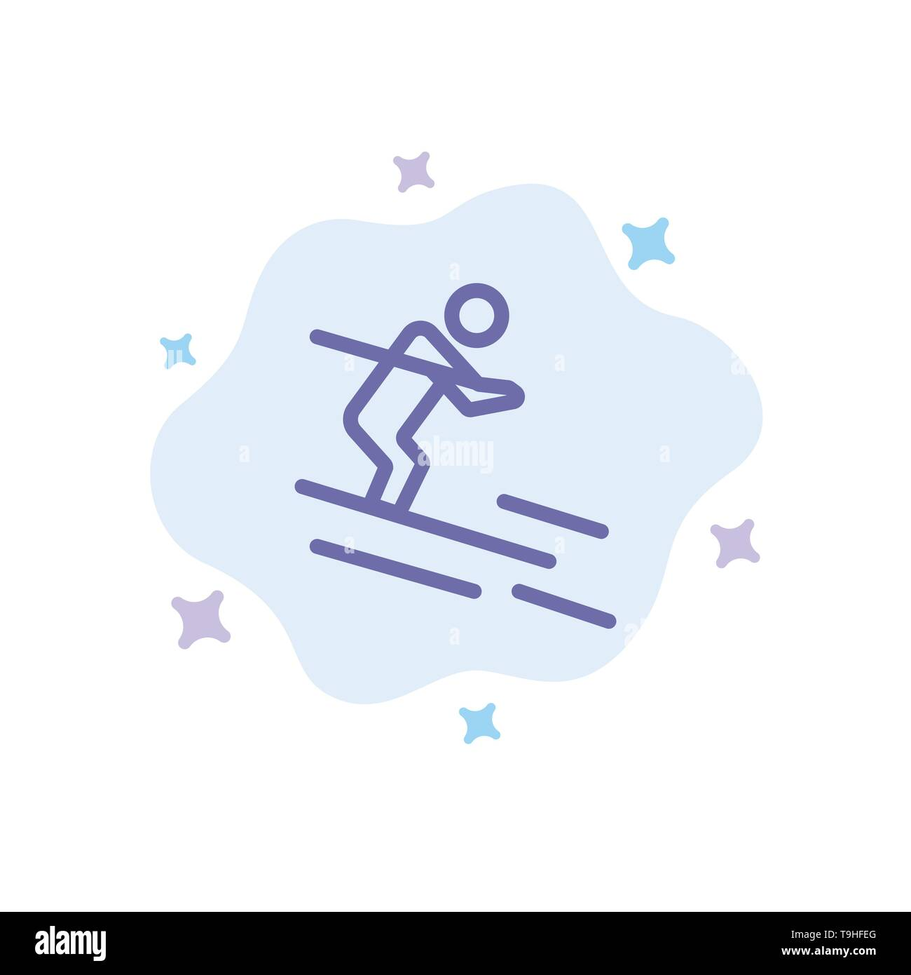 Activity, Ski, Skiing, Sportsman Blue Icon on Abstract Cloud Background - Stock Image