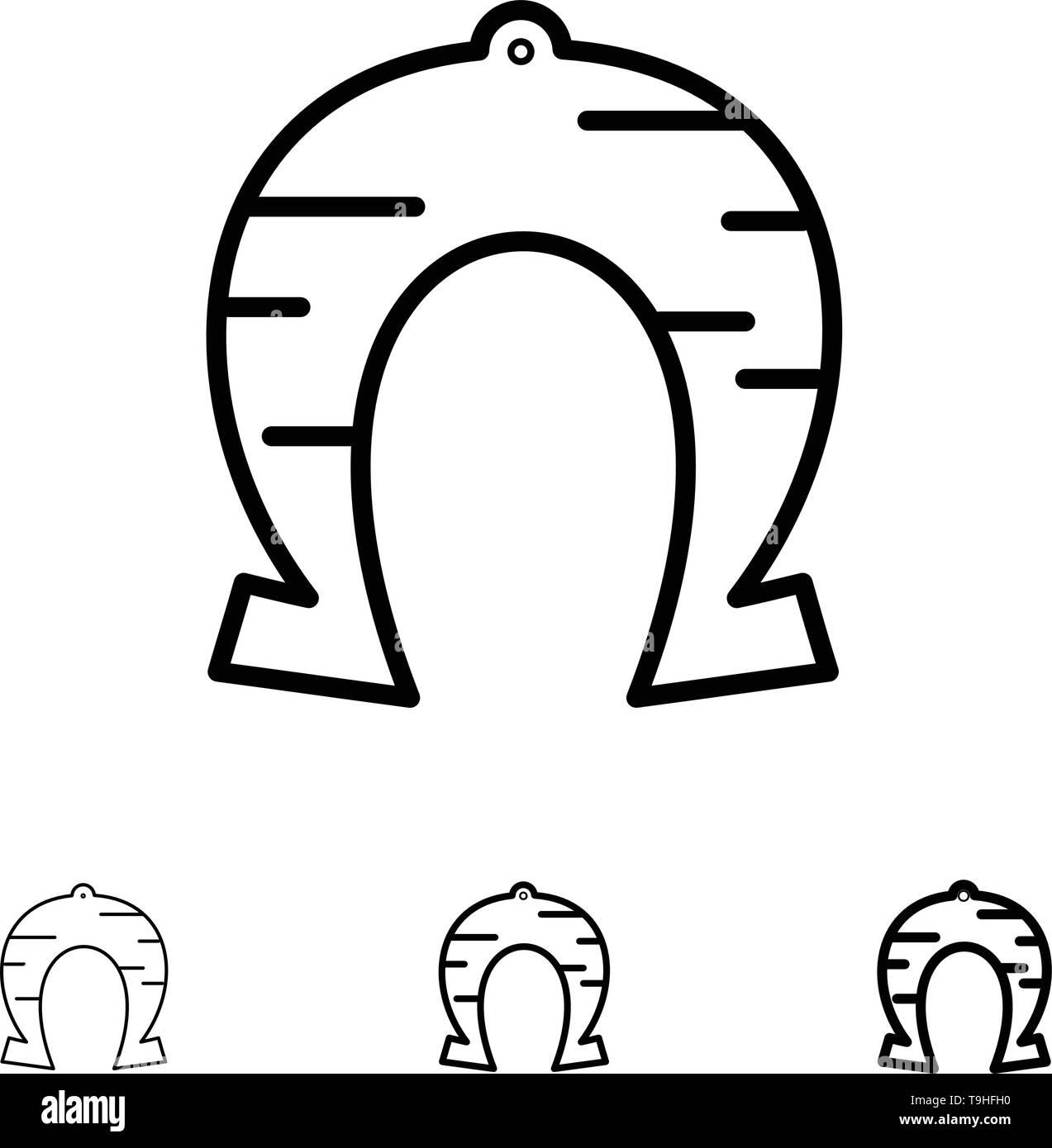 Festival, Fortune, Horseshoe, Luck, Patrick Bold and thin black line icon set - Stock Image