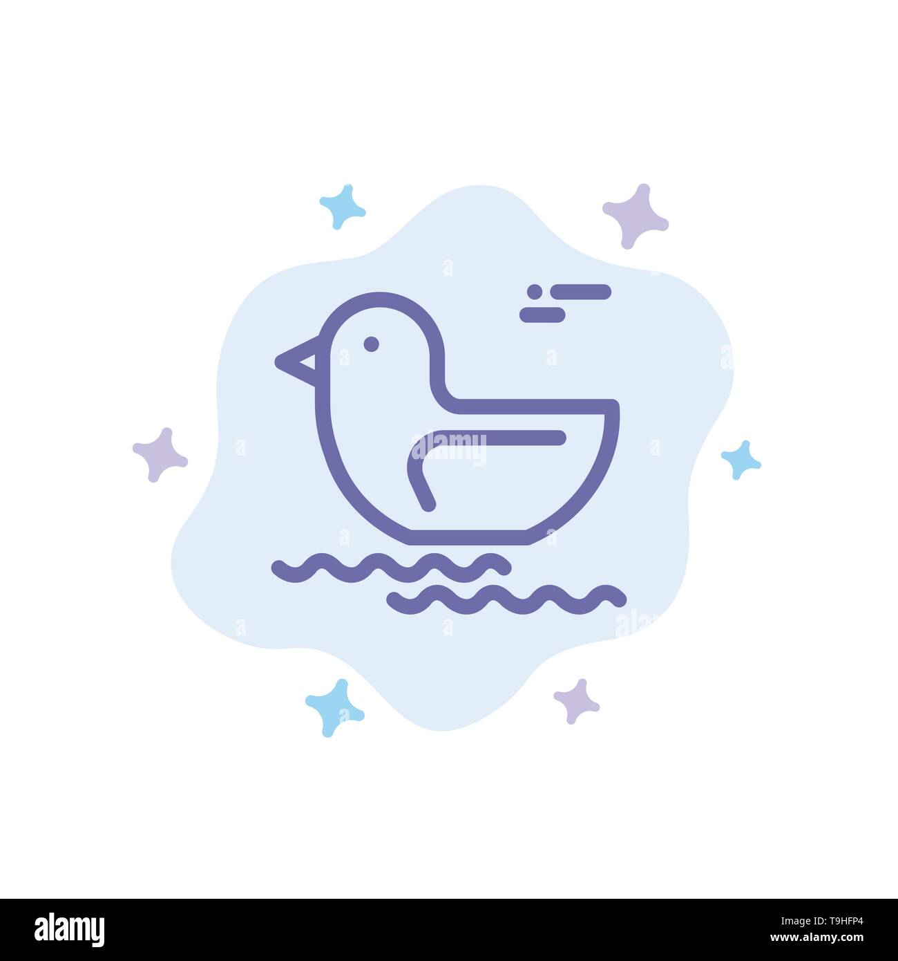 Duck, River, Canada Blue Icon on Abstract Cloud Background - Stock Image