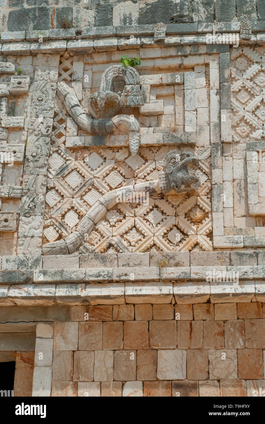 Details of a Mayan decoration, symbolizing a snake, in the archaeological area of Ek Balam, on the Yucatan peninsula - Stock Image