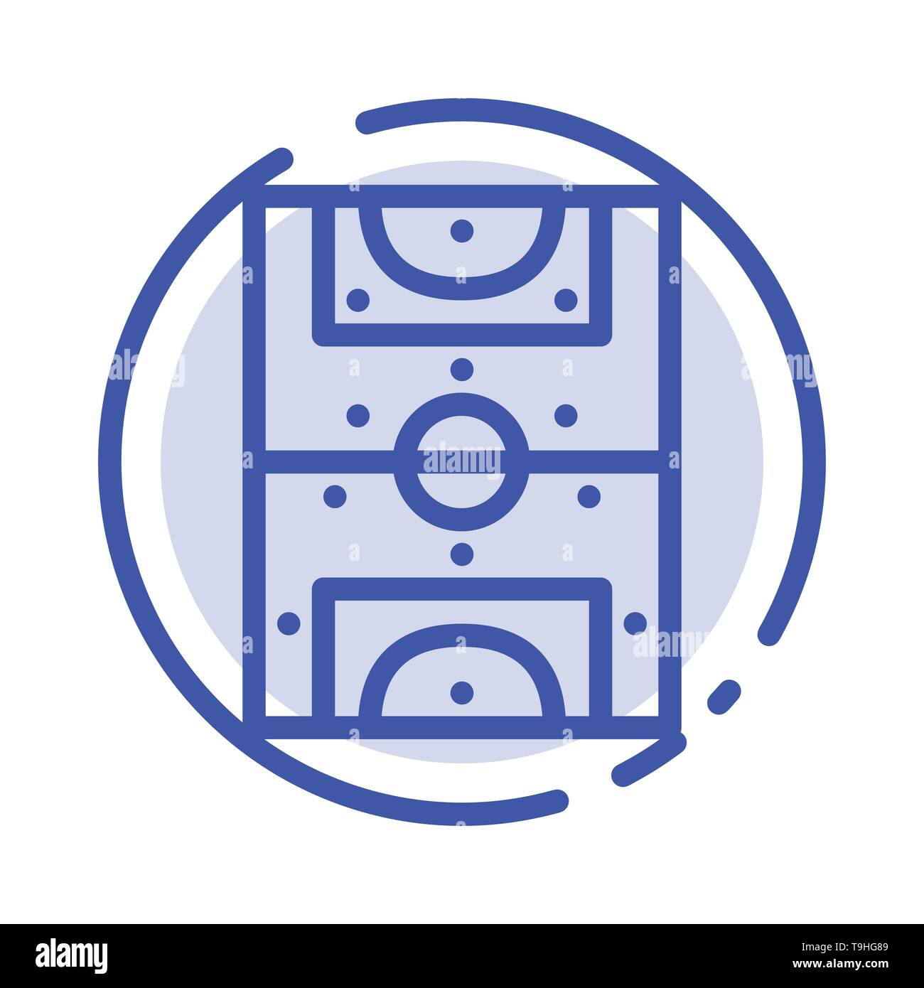 Entertainment, Game, Football, Field Blue Dotted Line Line Icon - Stock Image