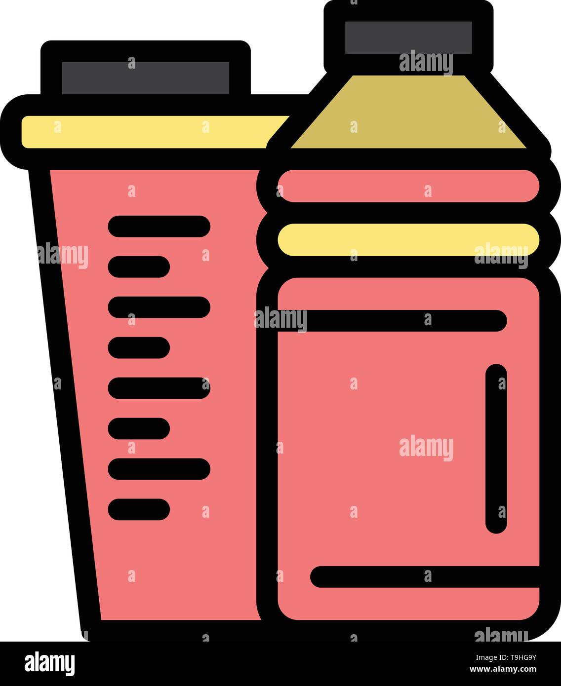Bottle, Drink, Energy, Shaker, Sport  Flat Color Icon. Vector icon banner Template - Stock Image