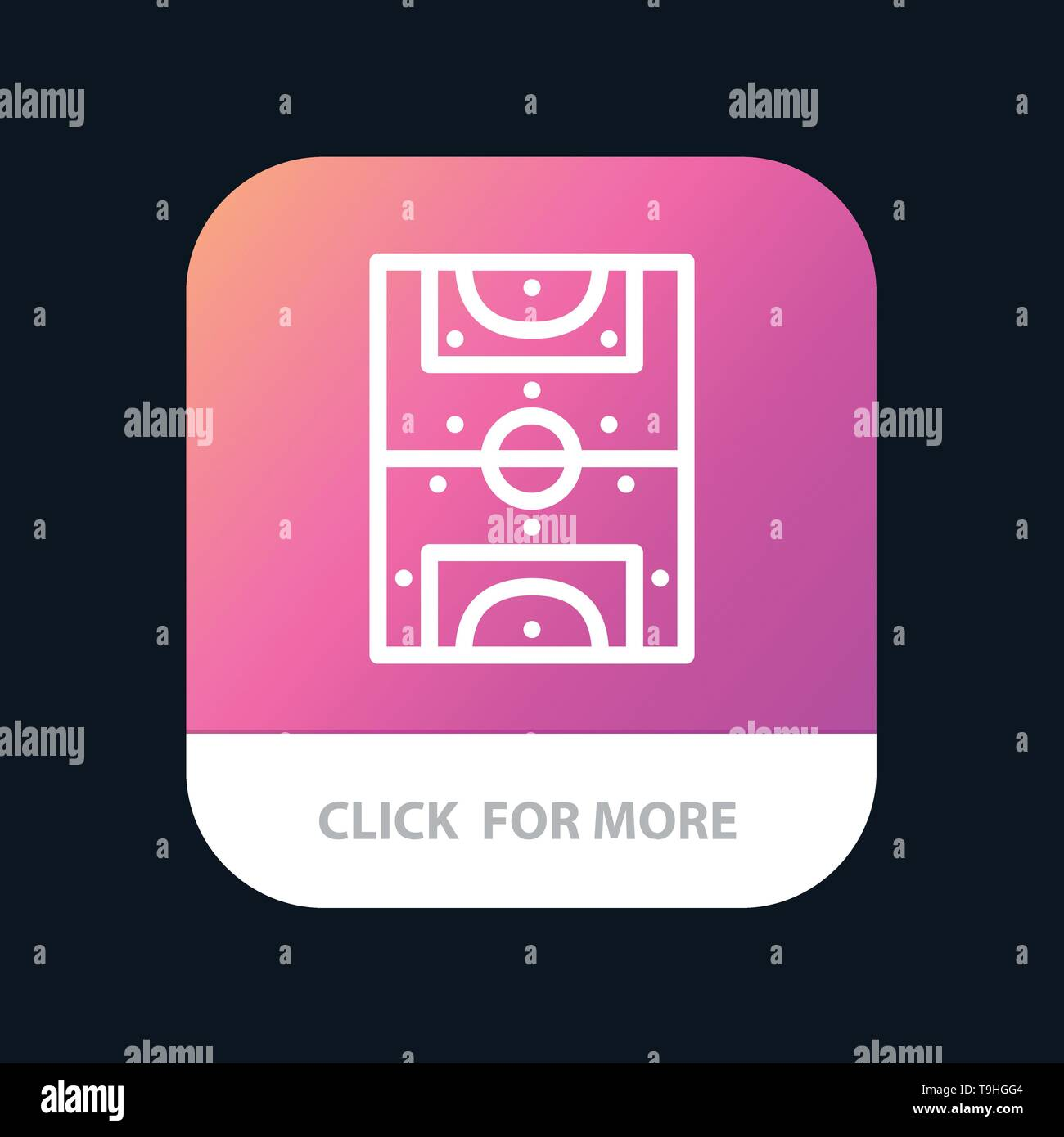 Entertainment, Game, Football, Field Mobile App Button. Android and IOS Line Version - Stock Image