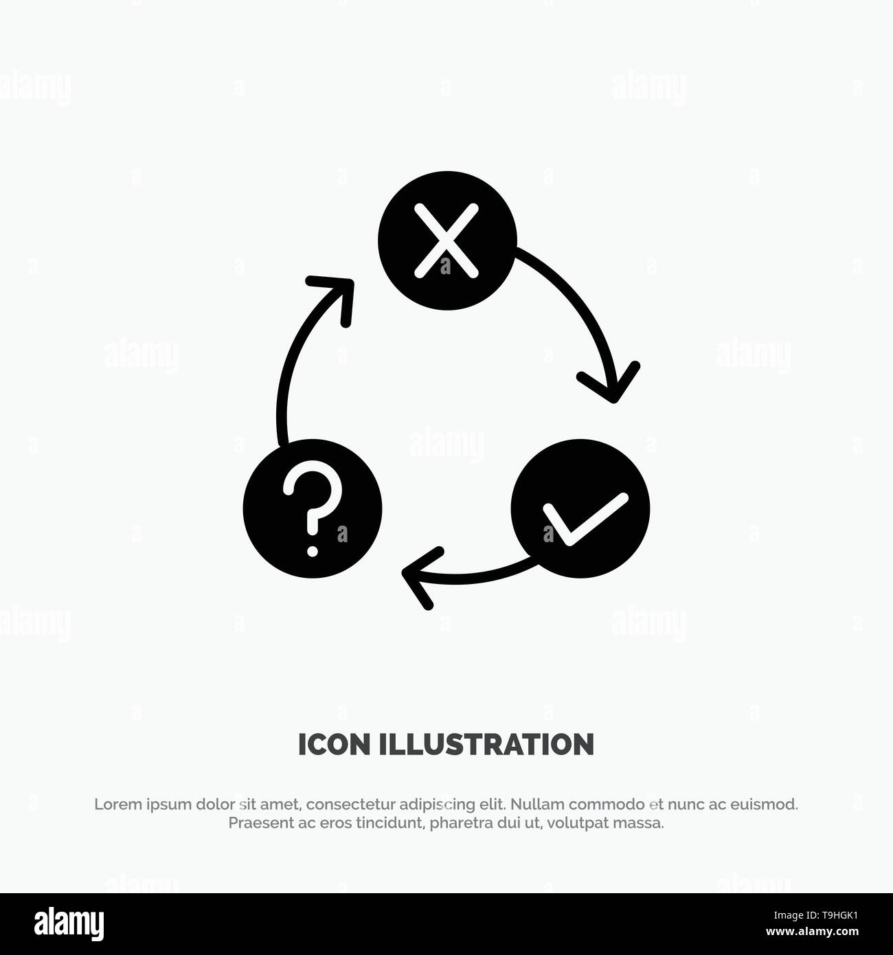 Daily, Flow, Issues, Organization, Realization solid Glyph Icon vector - Stock Vector