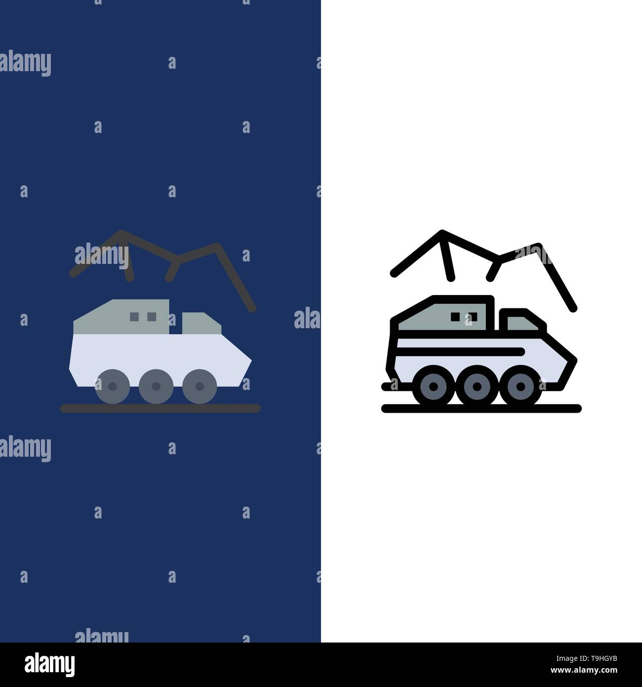 Exploration, Planet, Rover, Surface, Transport  Icons. Flat and Line Filled Icon Set Vector Blue Background - Stock Image