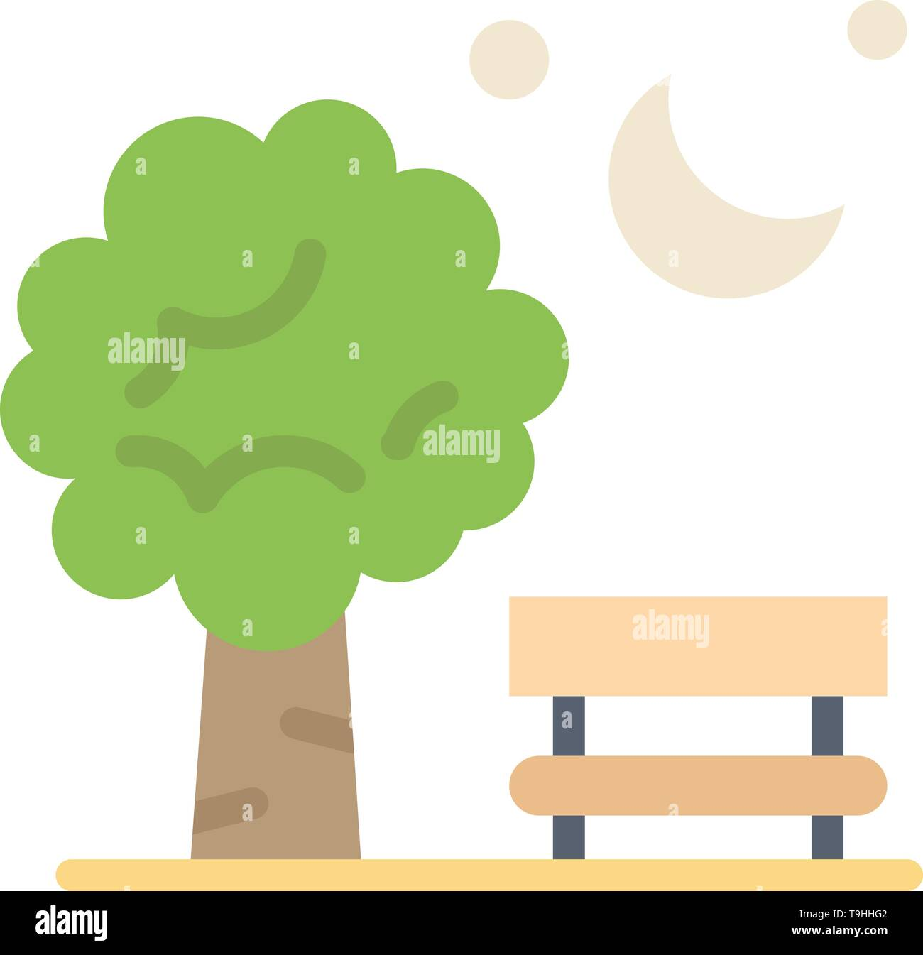 Bench, Chair, Park, Spring, Balloon  Flat Color Icon. Vector icon banner Template - Stock Image