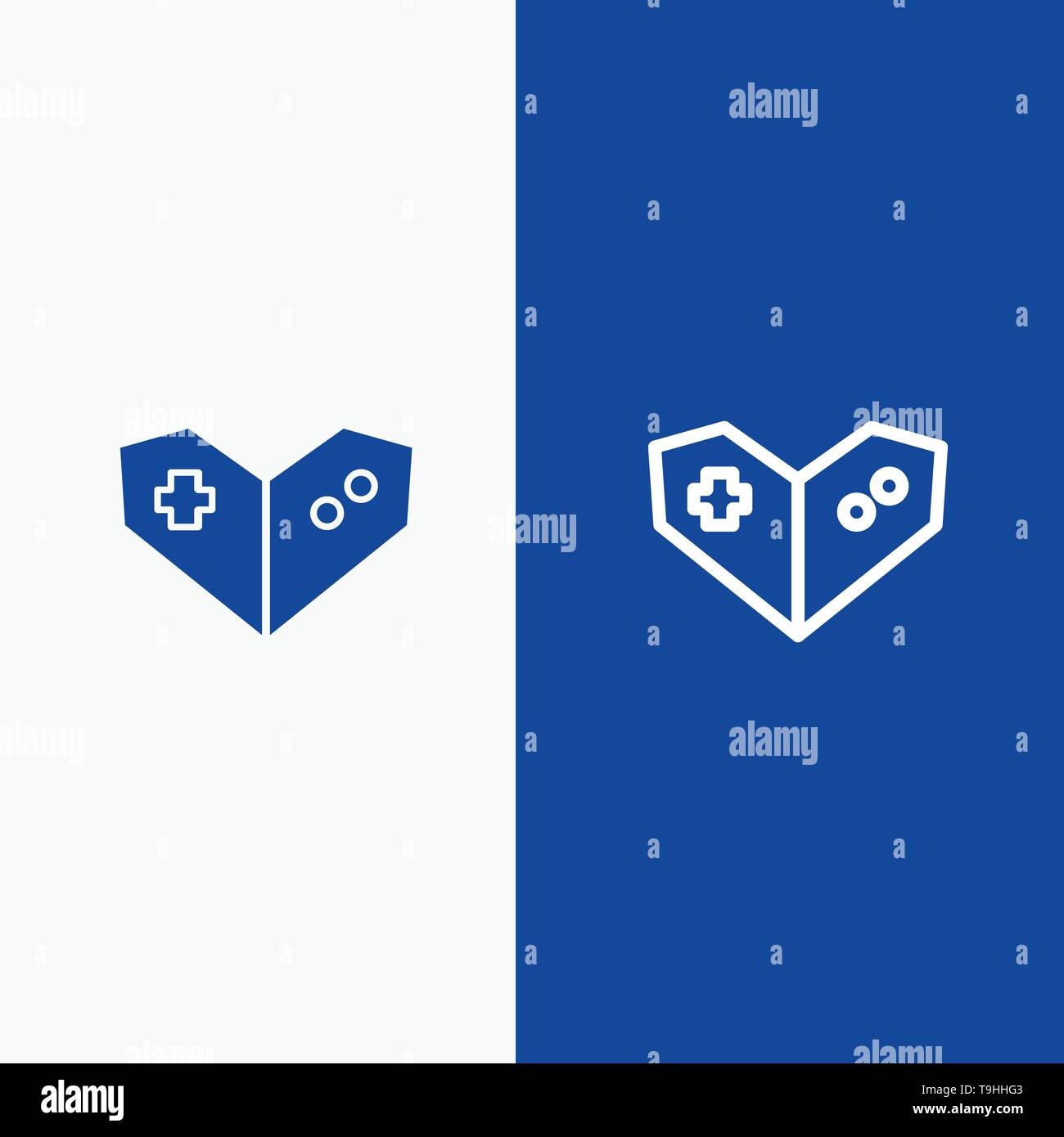 Gamepad, Videogame, PlayStation Line and Glyph Solid icon Blue banner Line and Glyph Solid icon Blue banner - Stock Image
