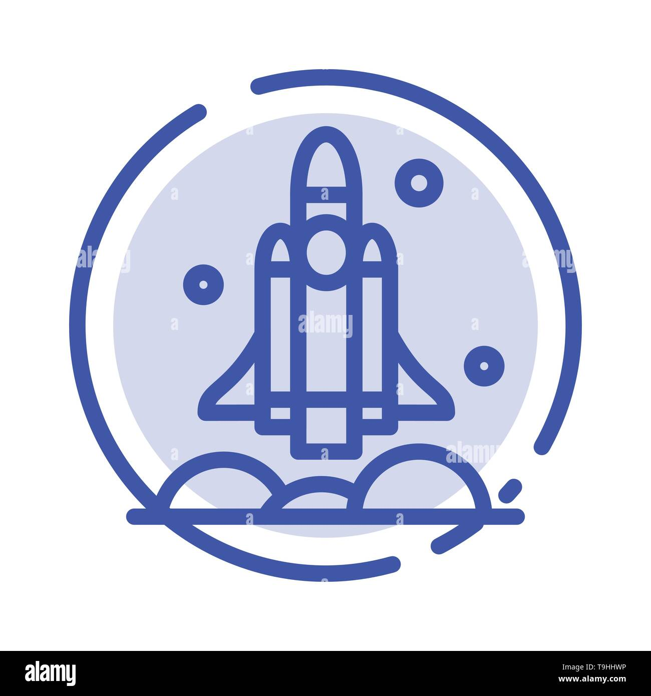 Launcher, Rocket, Spaceship, Transport, Usa Blue Dotted Line Line Icon - Stock Image