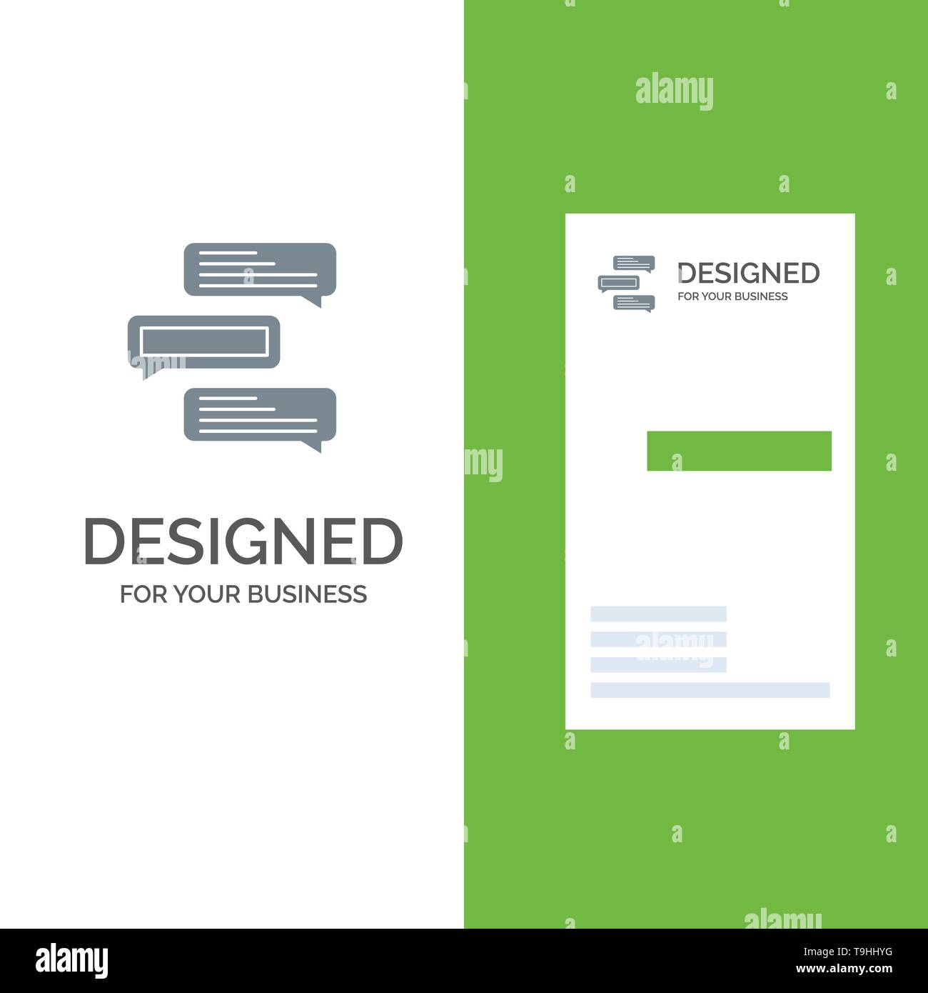 Chat, Bubbles, Comments, Conversations, Talks Grey Logo Design and Business Card Template - Stock Image