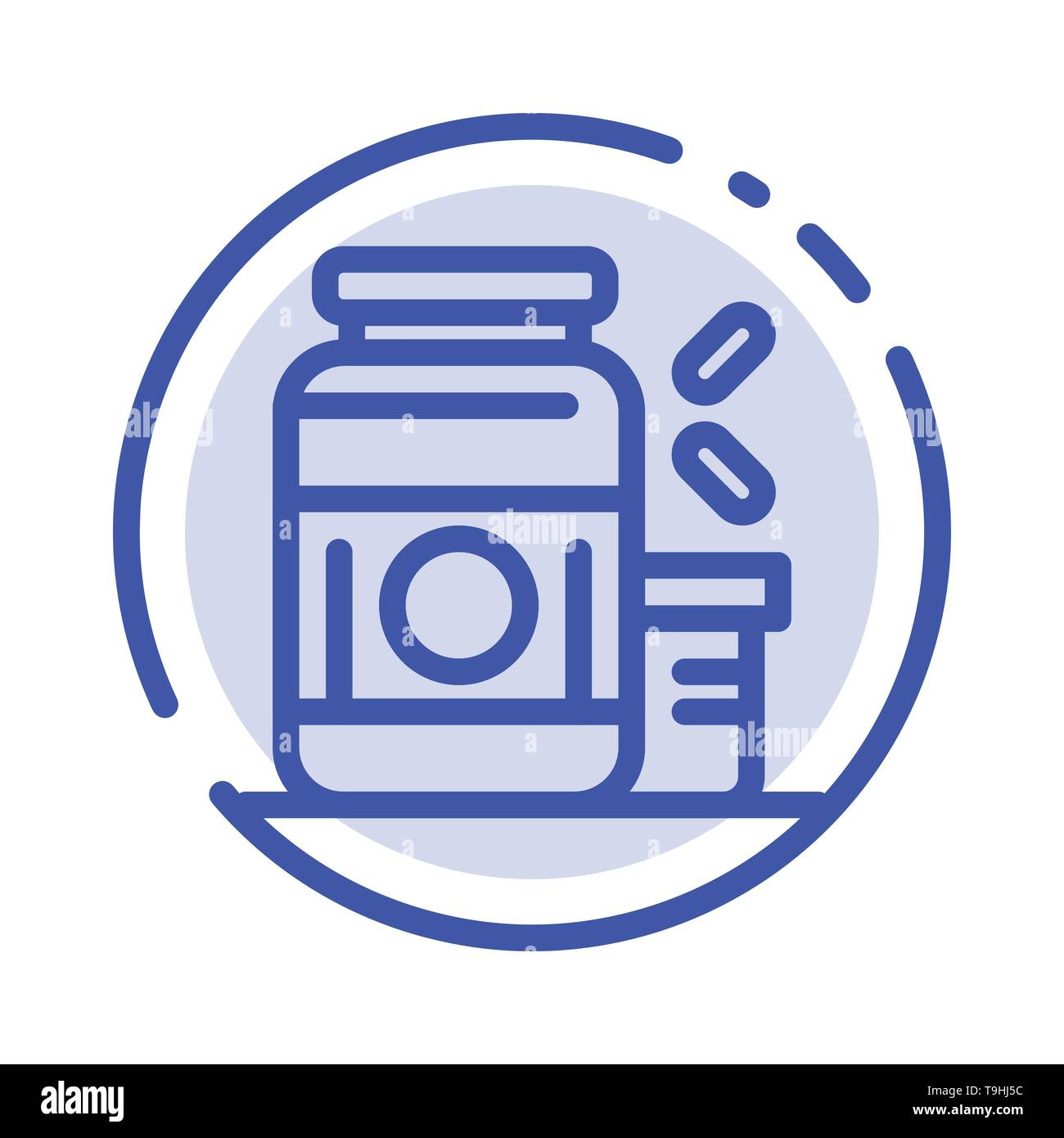Bodybuilding, Gainer, Protein, Sports, Supplement Blue Dotted Line Line Icon - Stock Image