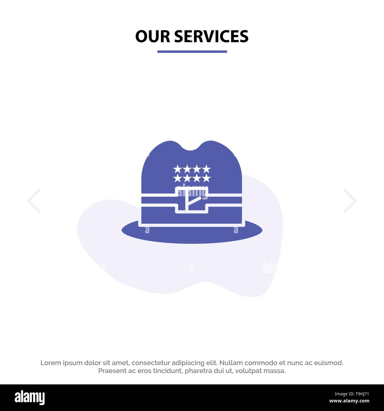 Our Services Hat, Cap, American Solid Glyph Icon Web card Template - Stock Image