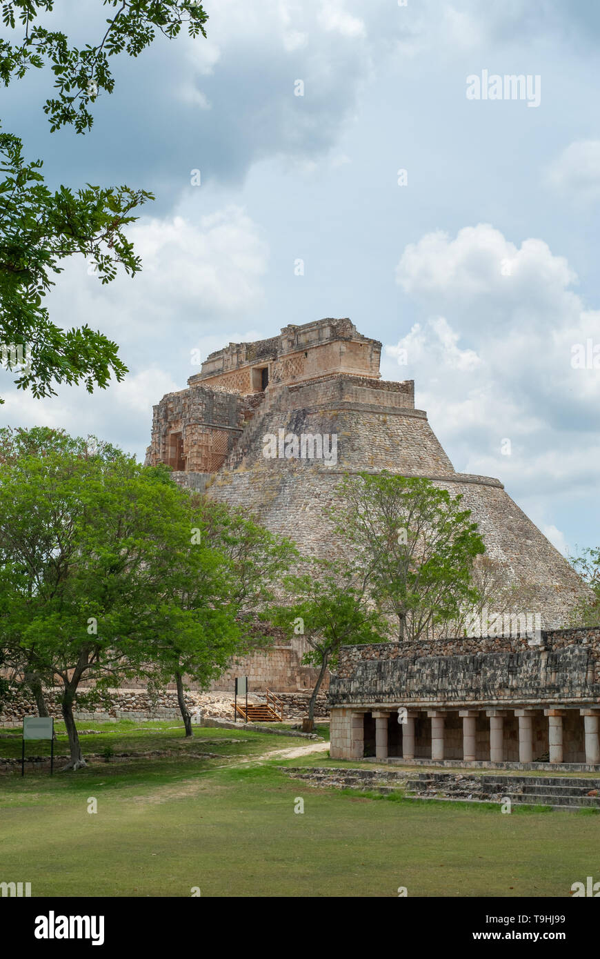 Mayan Pyramid in its entirety, in the archaeological area of Ek Balam, on the Yucatan peninsula - Stock Image