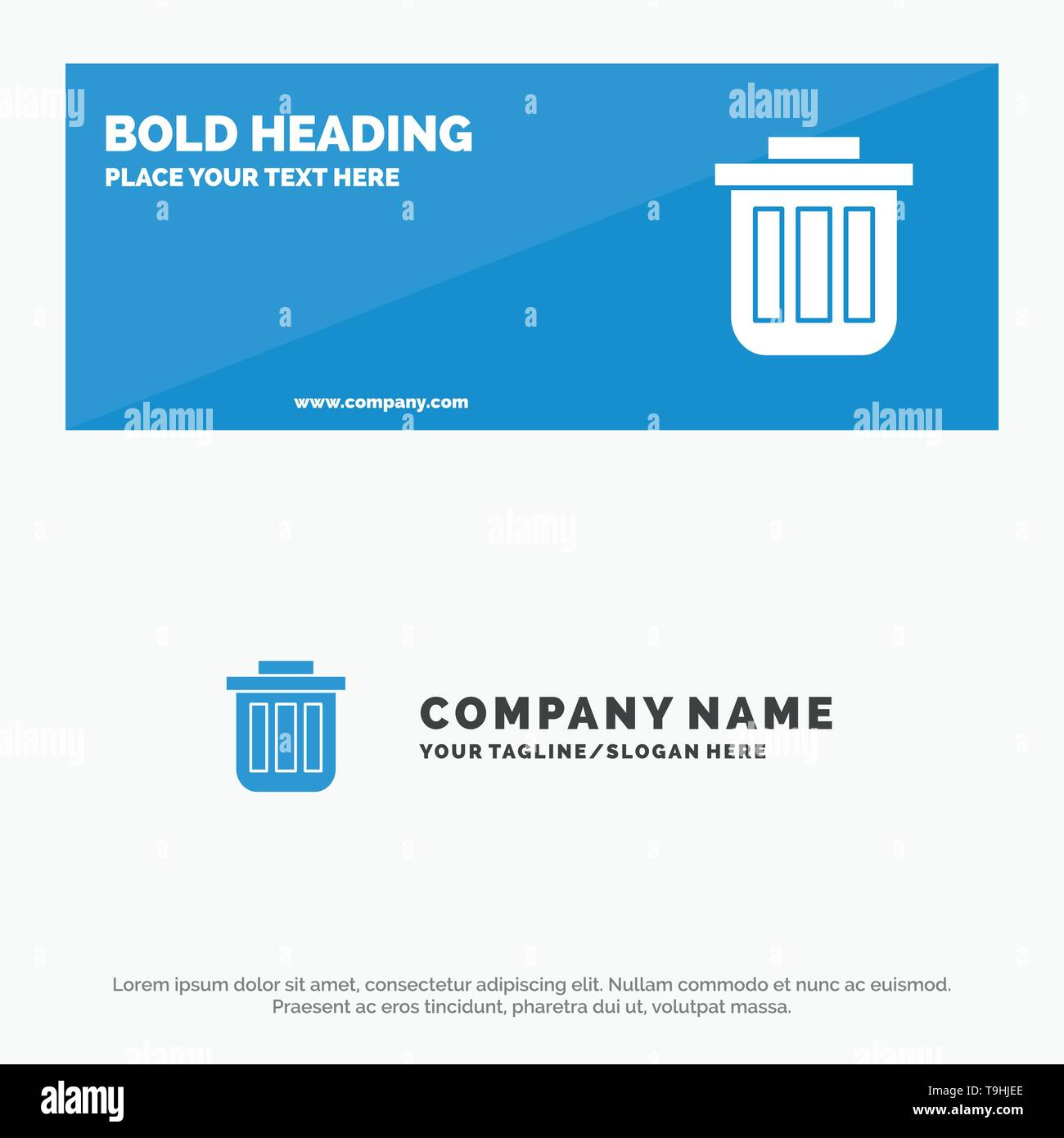 Trash, Basket, Bin, Can, Container, Dustbin, Office SOlid Icon Website Banner and Business Logo Template - Stock Image