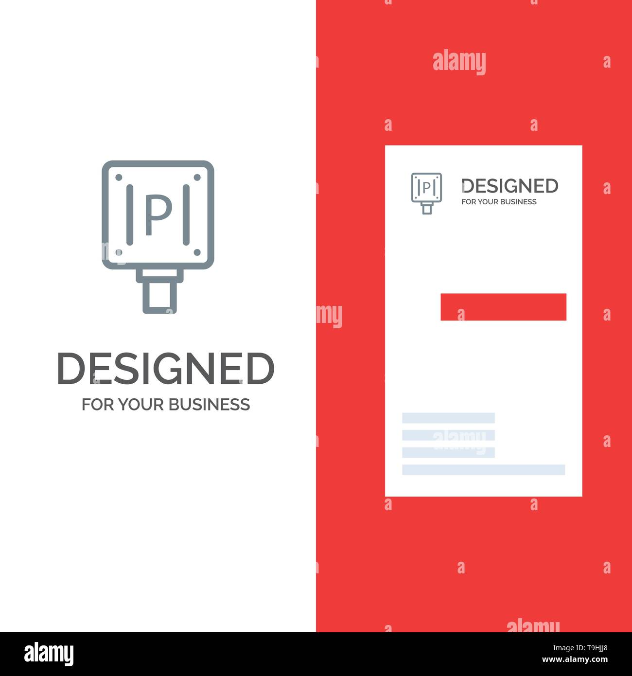 Parking, Board, Sign, Hotel Grey Logo Design and Business Card Template - Stock Image