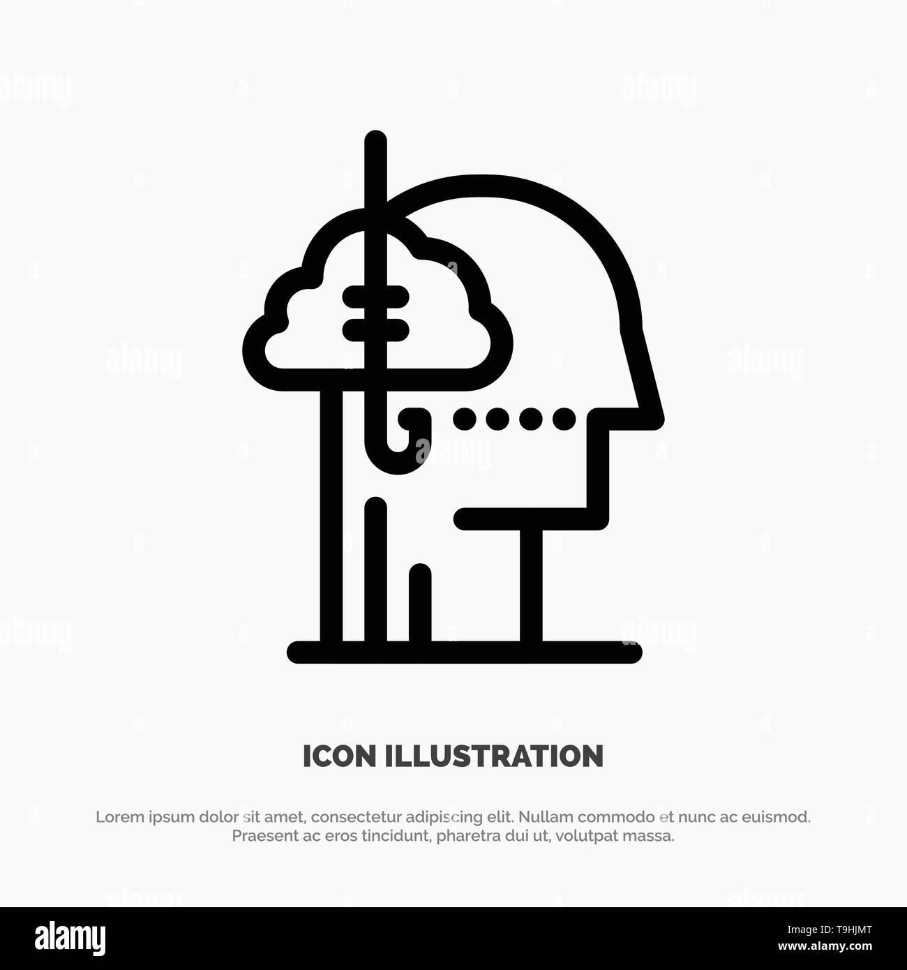 Borrowing Ideas, Addiction, Catch, Habit, Human Line Icon Vector - Stock Image