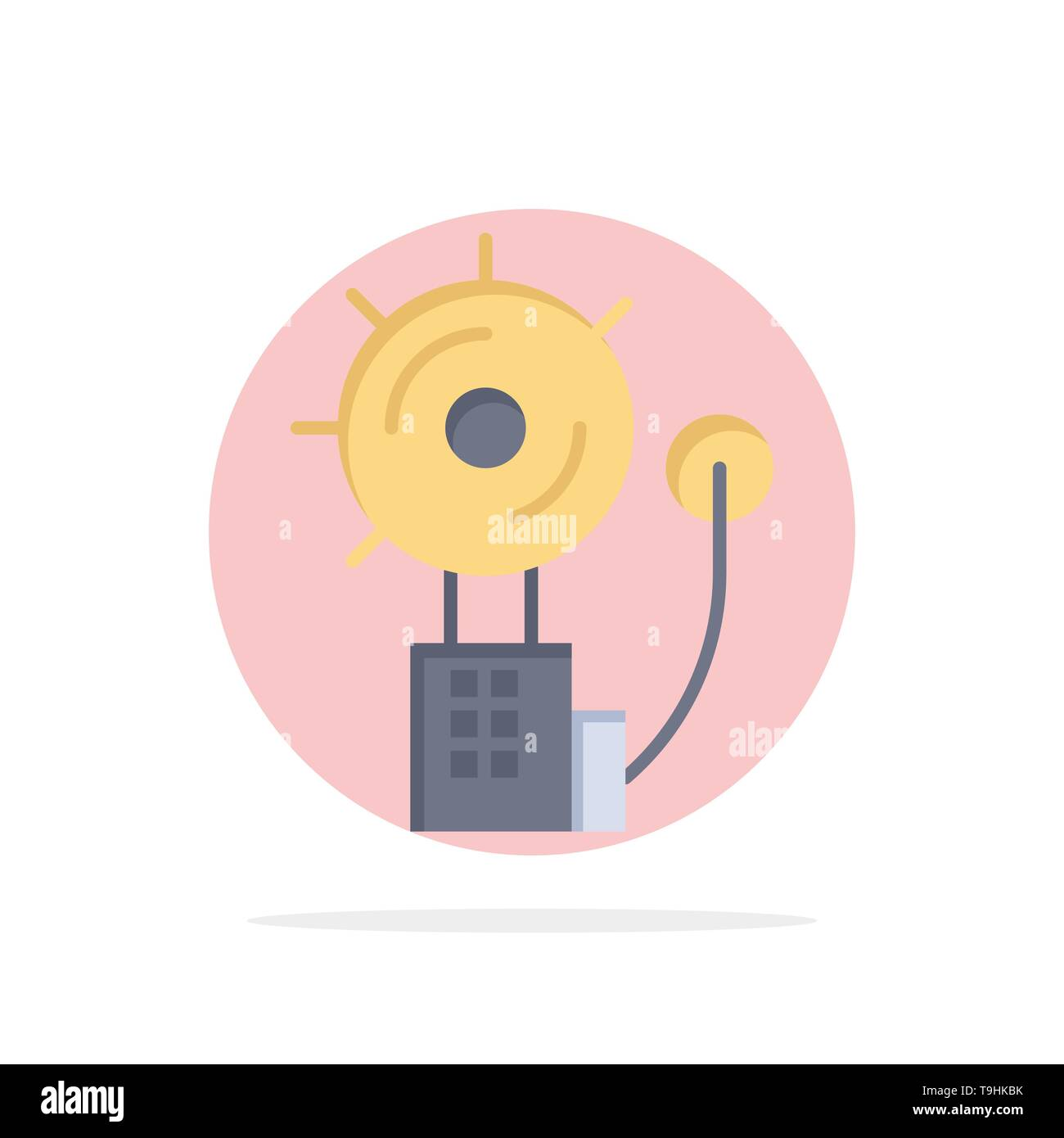 Alarm, Alert, Bell, Fire, Intruder Abstract Circle Background Flat color Icon - Stock Image