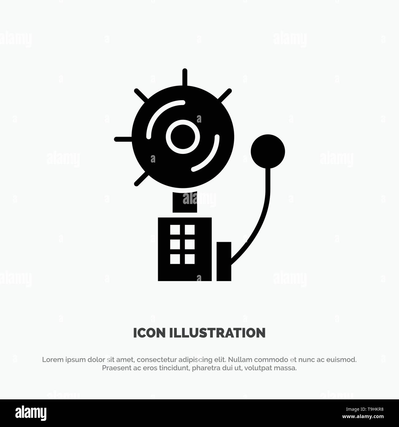 Alarm, Alert, Bell, Fire, Intruder solid Glyph Icon vector - Stock Image