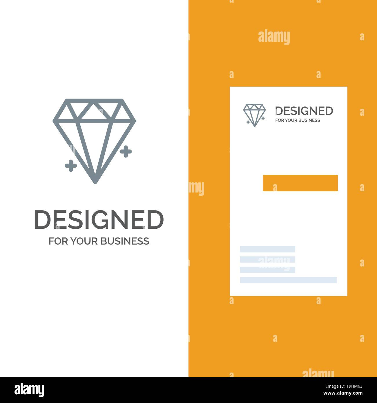 Diamond, Ecommerce, Jewelry, Jewel Grey Logo Design and Business Card Template - Stock Image