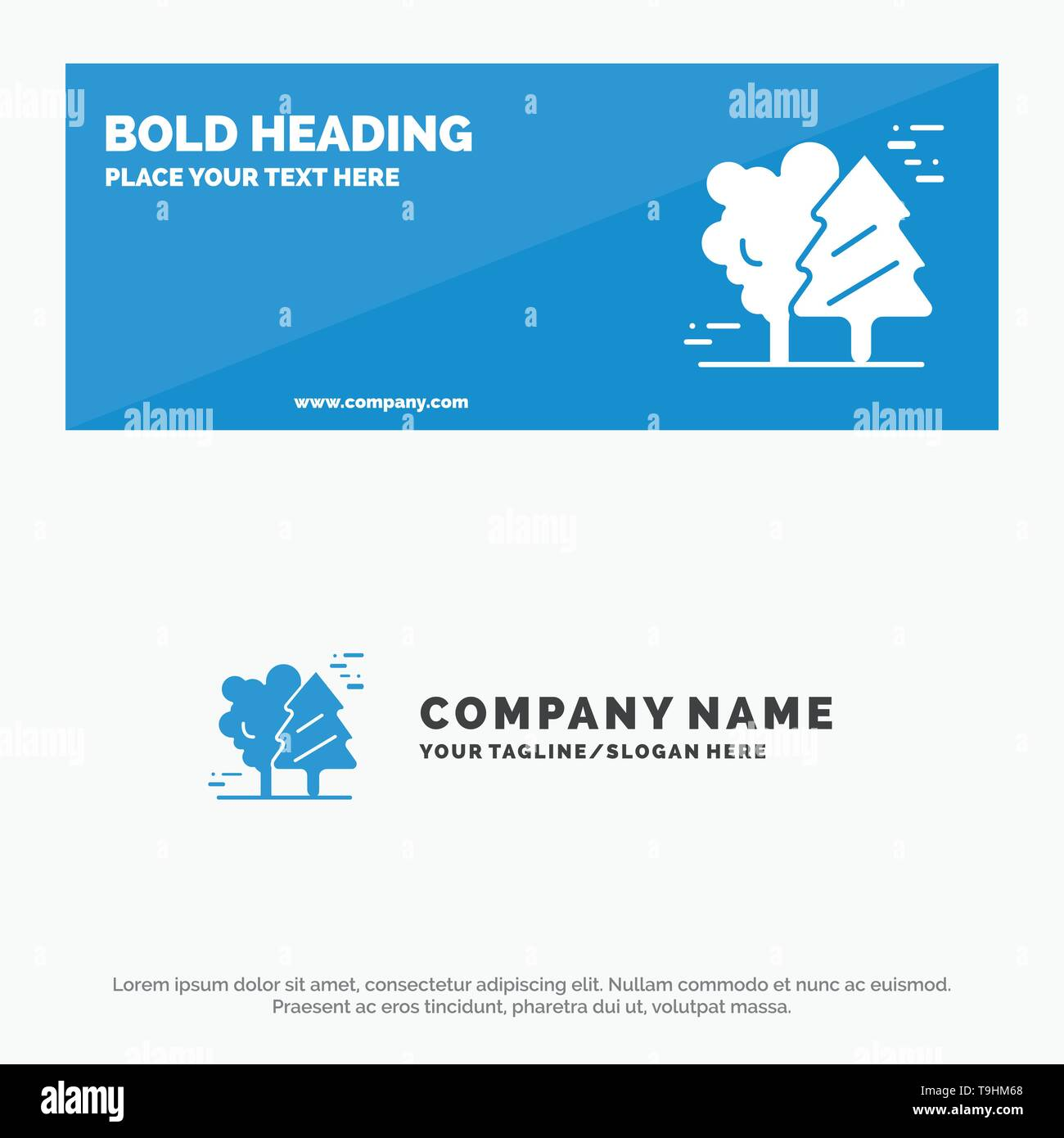 Alpine, Arctic, Canada, Pine Trees, Scandinavia SOlid Icon Website Banner and Business Logo Template - Stock Image