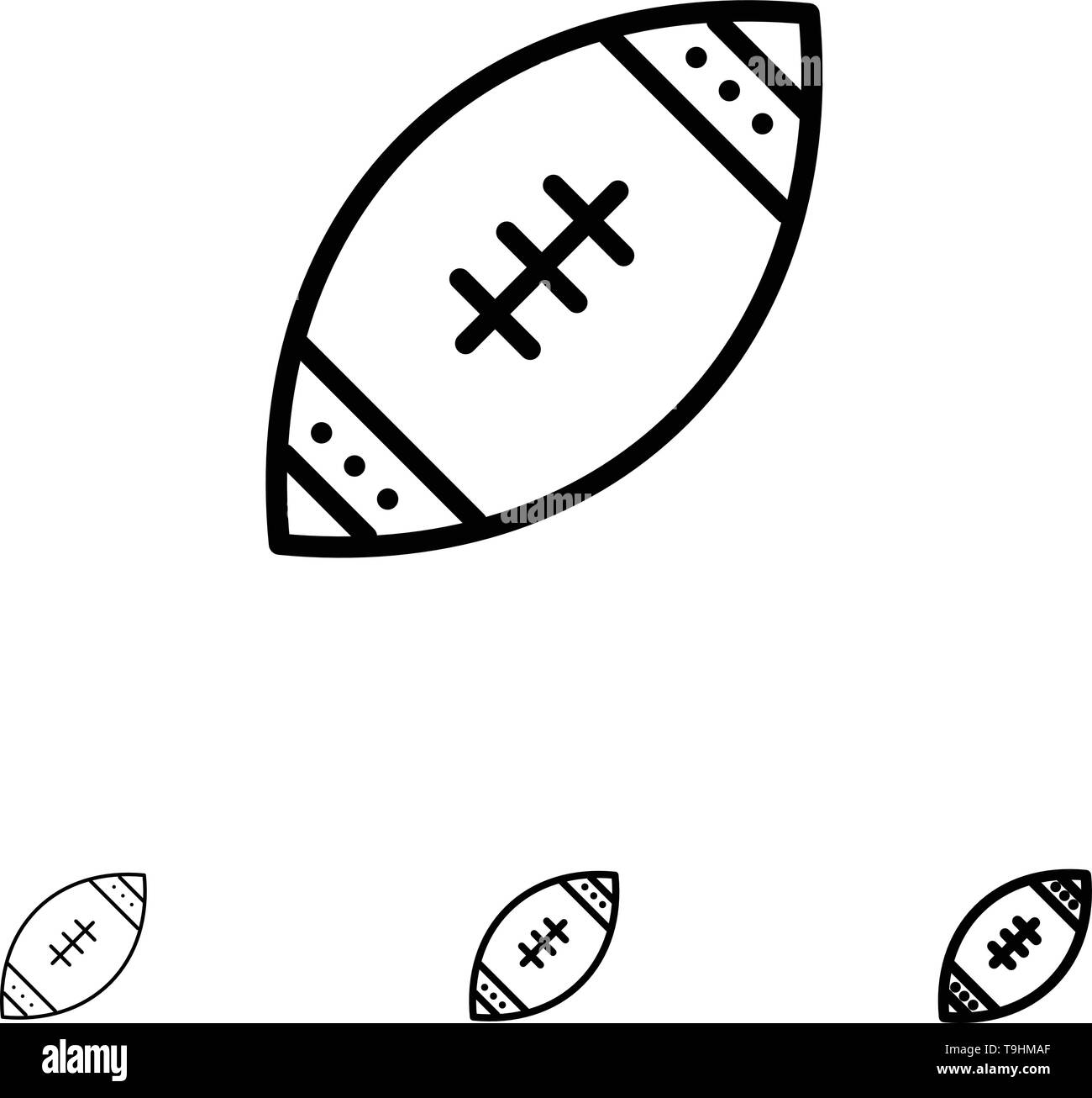 American, Ball, Football, Nfl, Rugby Bold and thin black line icon set - Stock Image