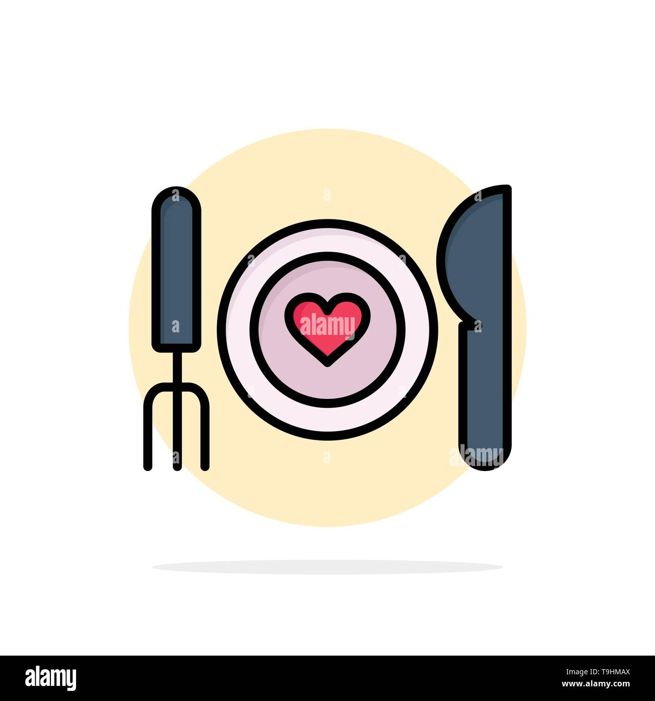 Dinner, Romantic, Food, Date, Couple Abstract Circle Background Flat color Icon - Stock Image