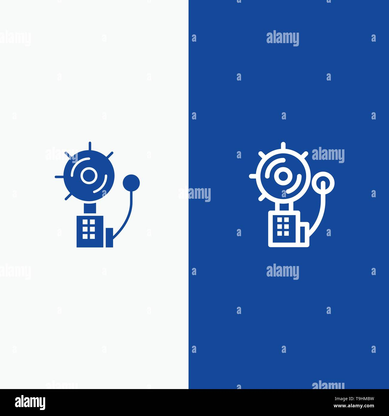 Alarm, Alert, Bell, Fire, Intruder Line and Glyph Solid icon Blue banner Line and Glyph Solid icon Blue banner - Stock Image
