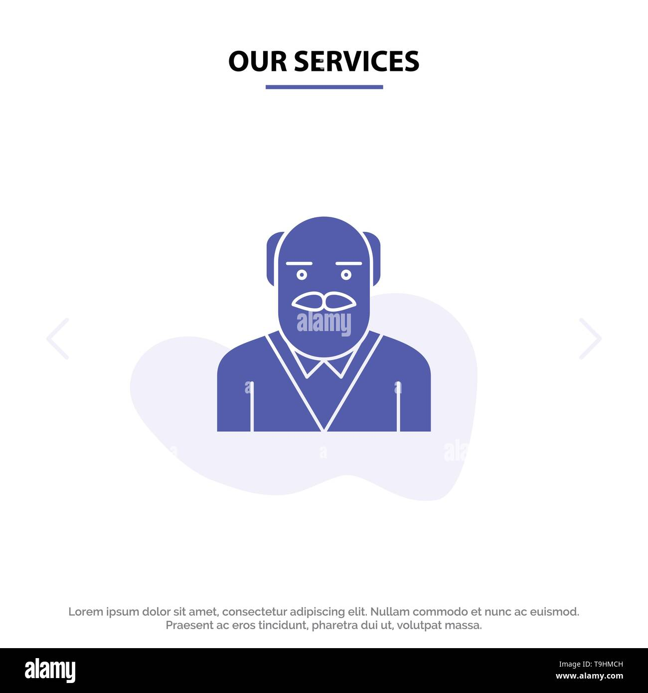 Our Services Grandpa, Father, Old Man, Uncle Solid Glyph Icon Web card Template - Stock Image