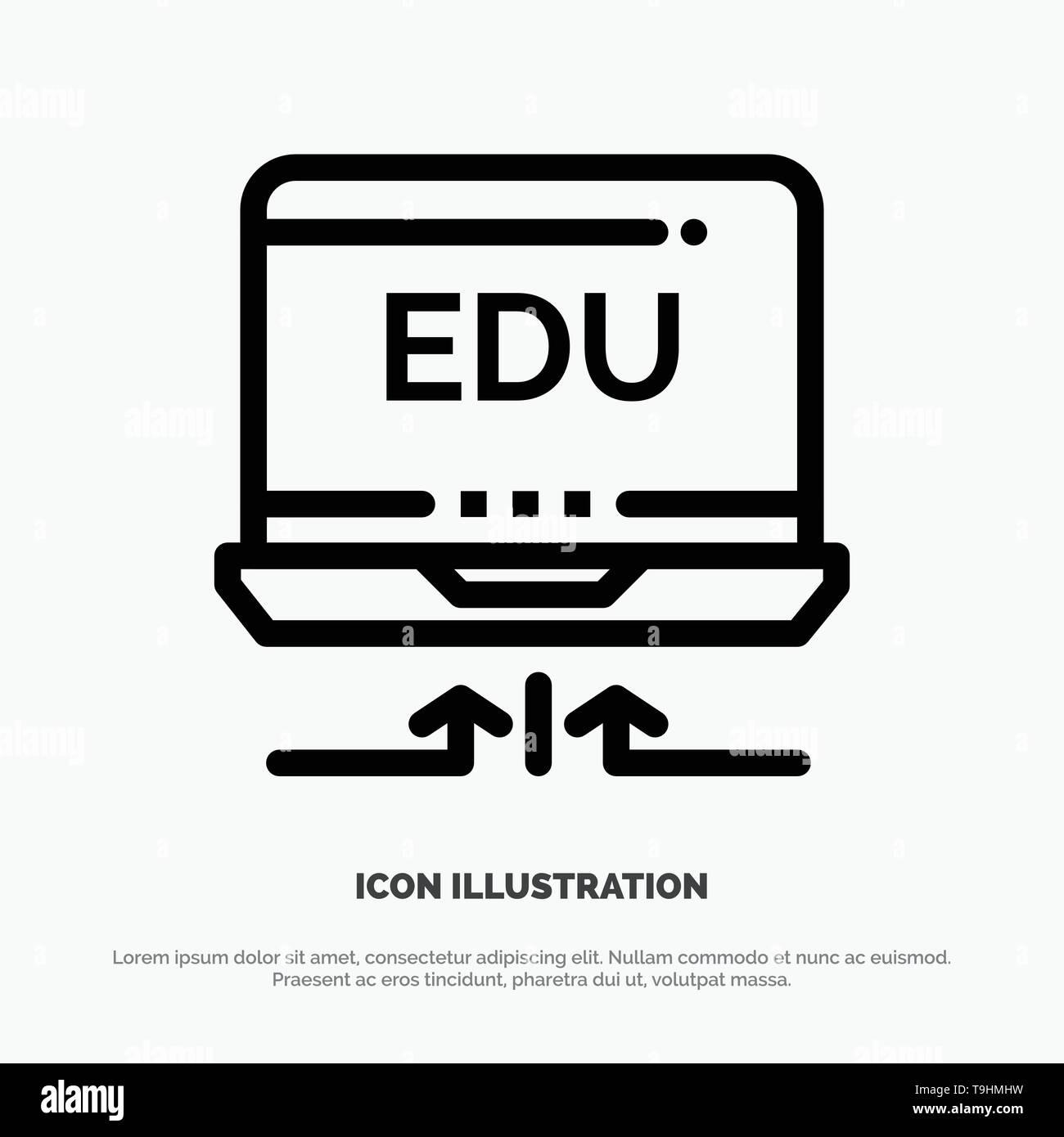 Laptop, Hardware, Arrow, Education Vector Line Icon - Stock Image