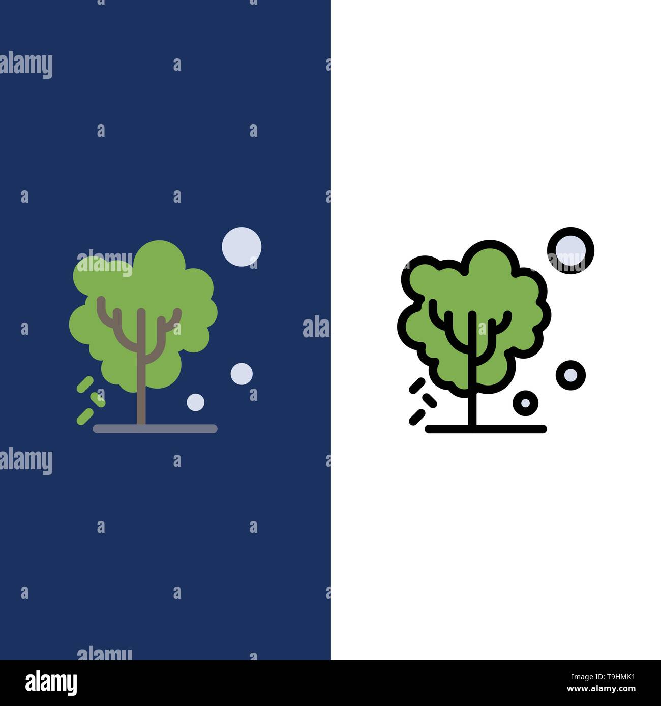 Dry, Global, Soil, Tree, Warming  Icons. Flat and Line Filled Icon Set Vector Blue Background - Stock Image