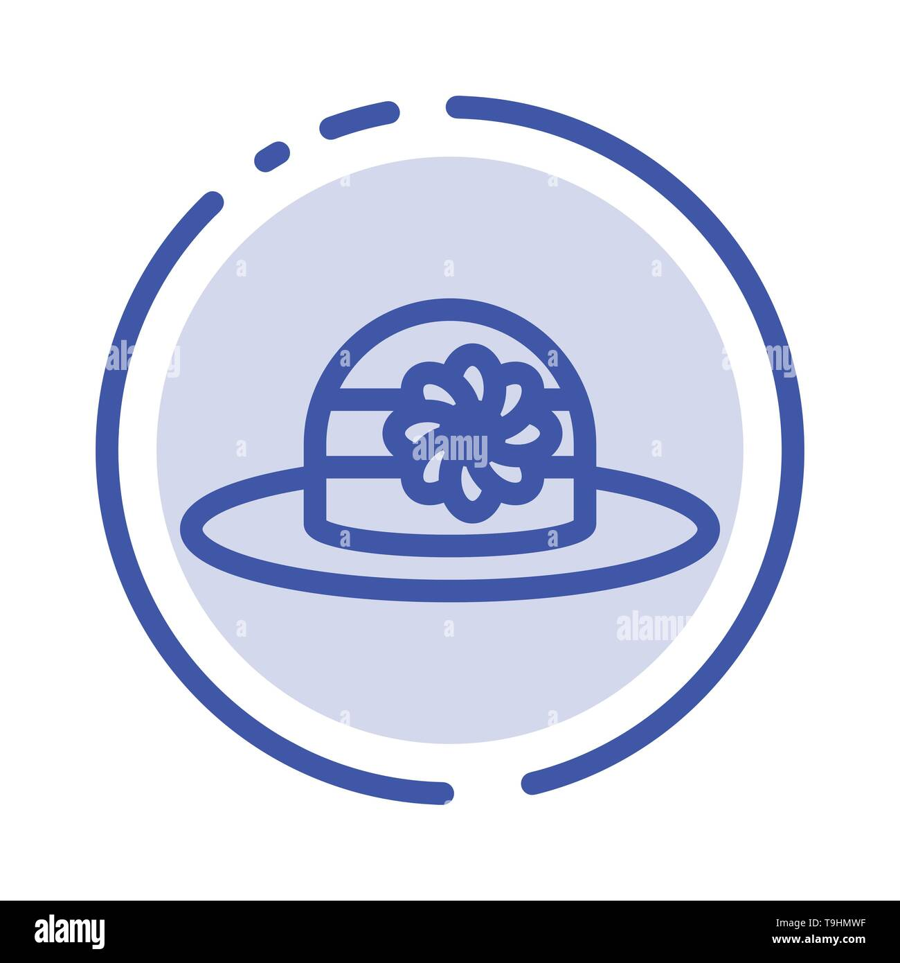 Beach, Hat, Cap Blue Dotted Line Line Icon - Stock Image