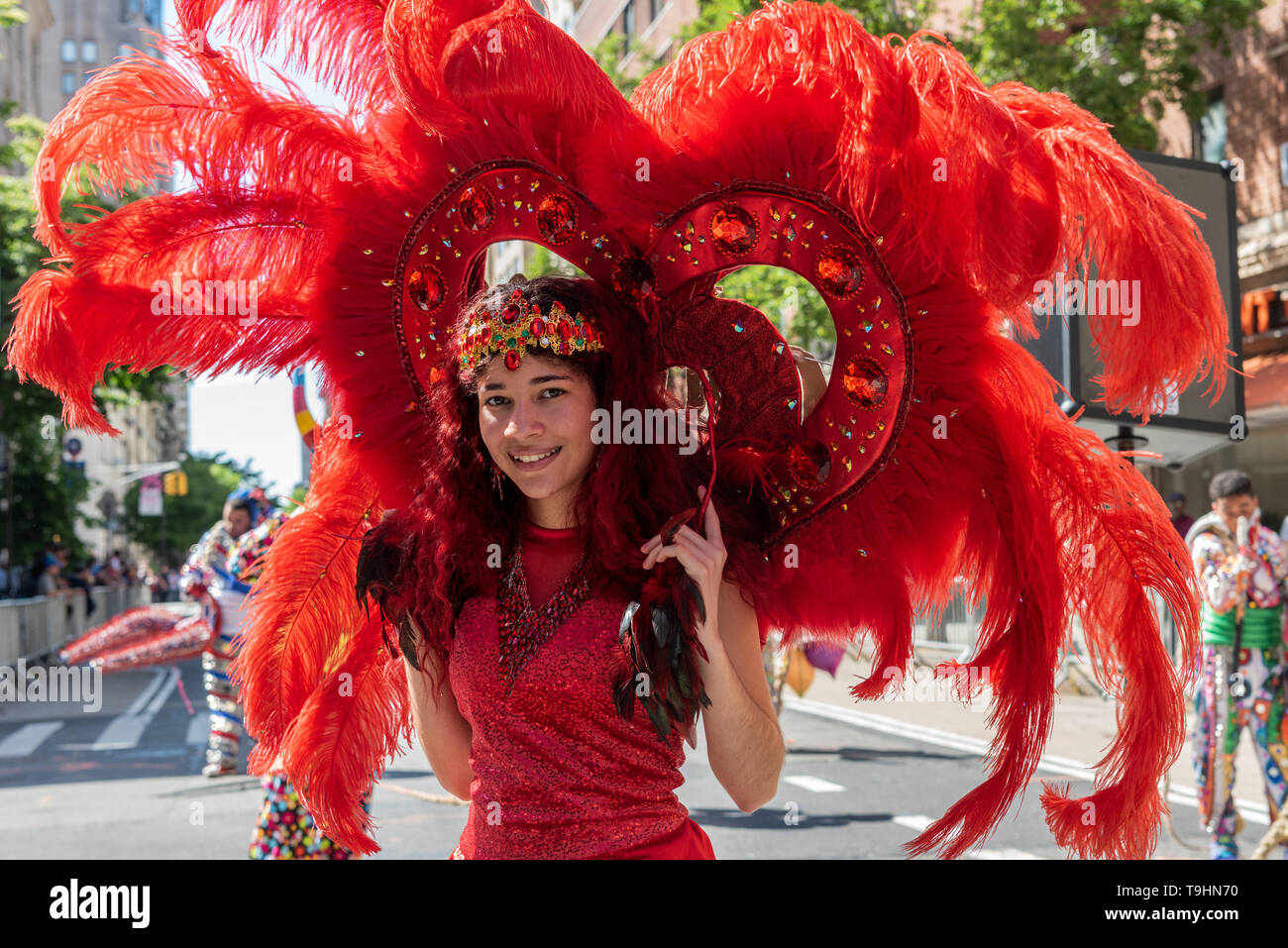 New York, USA. 18th May, 2019. On May 18, 2019 around 10,000 dancers, DJs, and live bands danced down Broadway through Union Square, University Place and across East 8th Street ending the parade at Avenue A in Manhattan, NY. This year's theme 'Movement of the People' countered the political negativity and showed that dance unifies people from different cultural backgrounds. Credit: Gabriele Holtermann-Gorden/Pacific Press/Alamy Live News - Stock Image