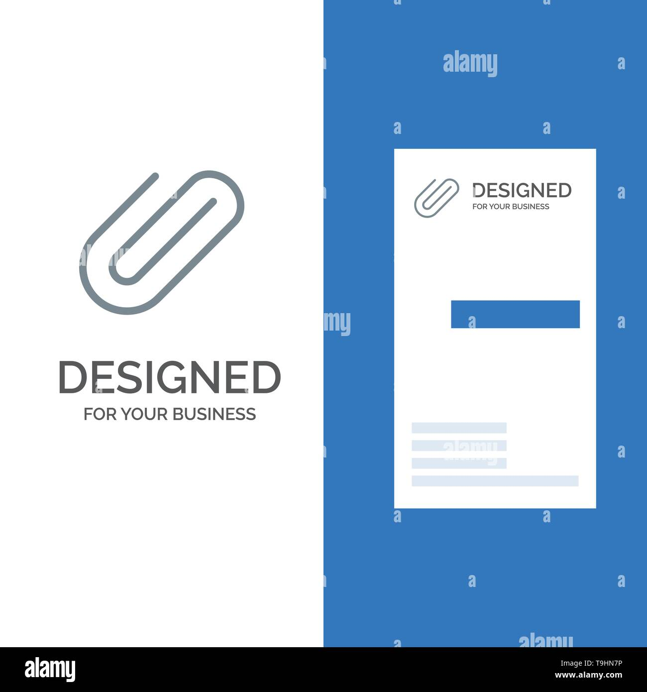Attachment, Binder, Clip, Paper Grey Logo Design and Business Card Template - Stock Vector