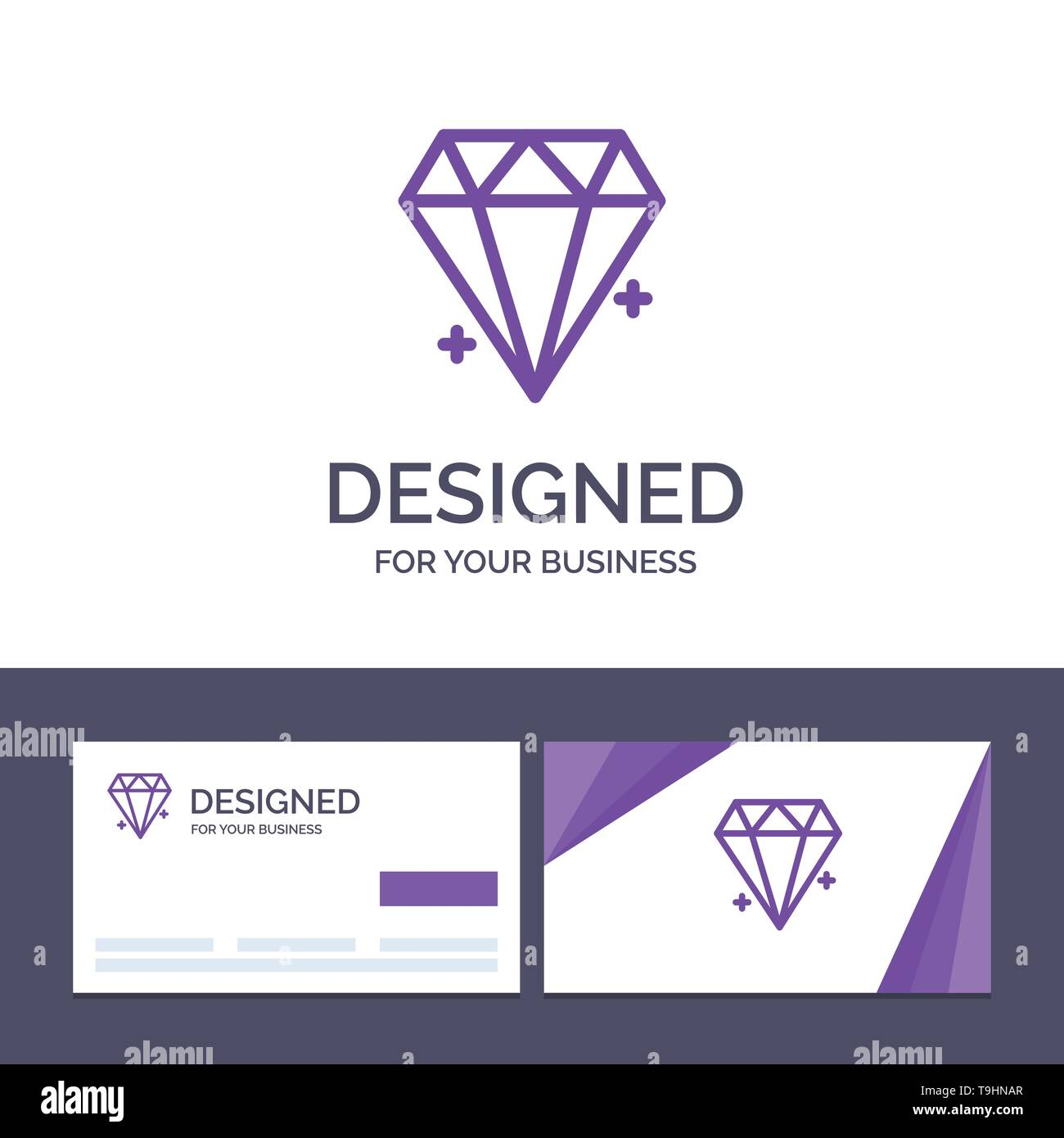 Creative Business Card and Logo template Diamond, Ecommerce, Jewelry, Jewel Vector Illustration - Stock Image