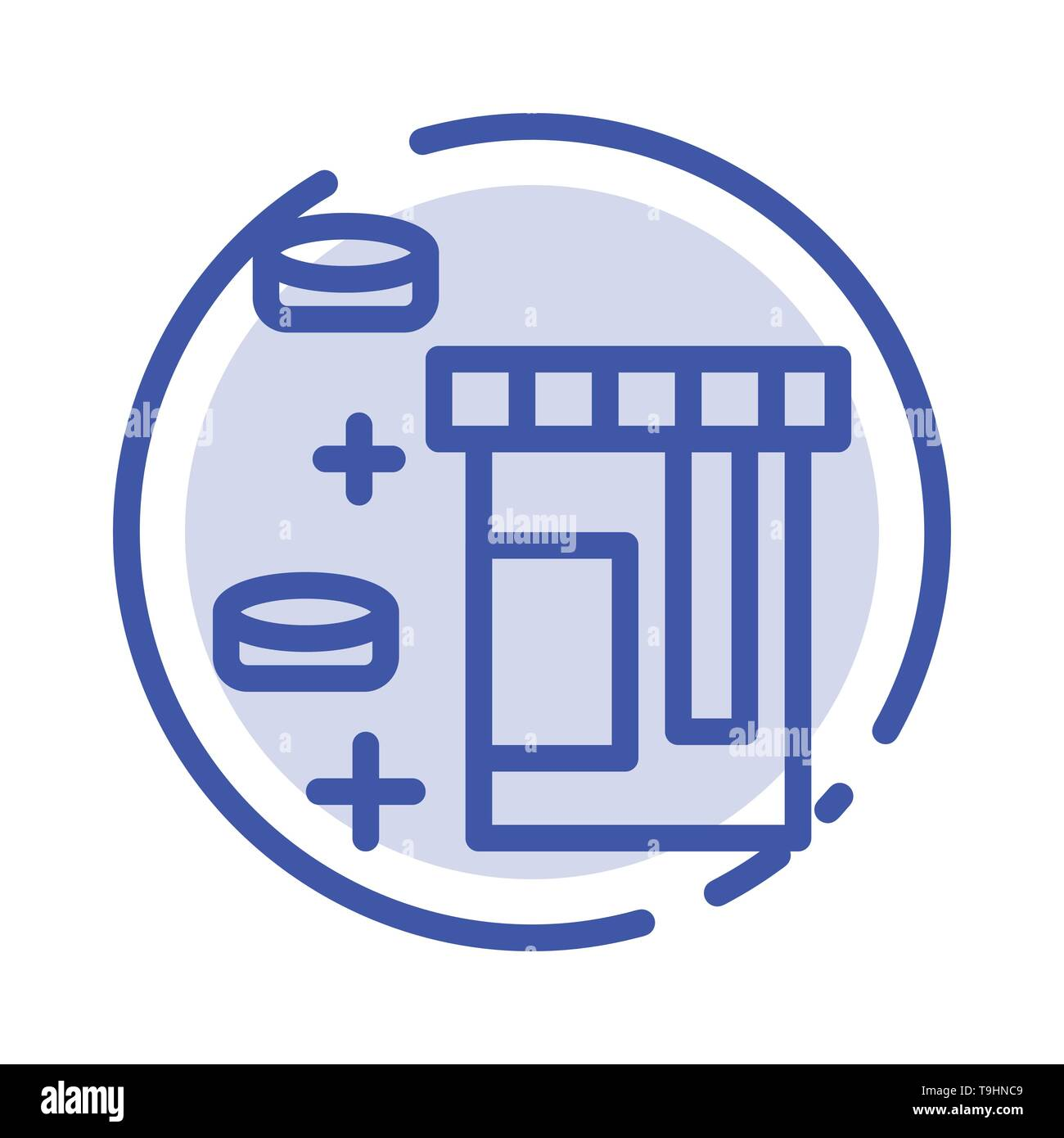 Tablet, Bottle, Healthcare Blue Dotted Line Line Icon - Stock Image