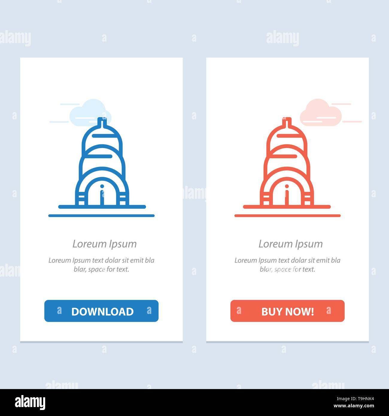 Chrysler, Building, Usa  Blue and Red Download and Buy Now web Widget Card Template - Stock Vector