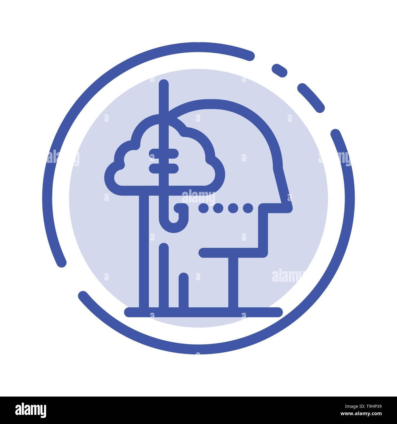 Borrowing Ideas, Addiction, Catch, Habit, Human Blue Dotted Line Line Icon - Stock Image