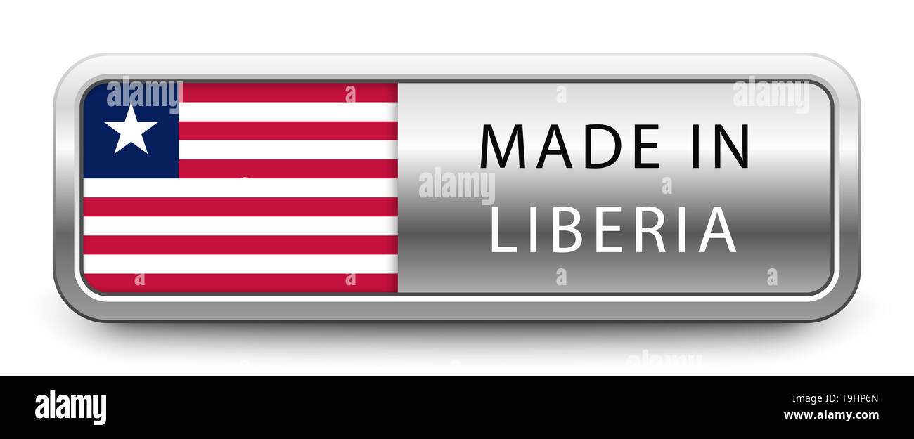 MADE IN LIBERIA metallic badge with national flag - Stock Image