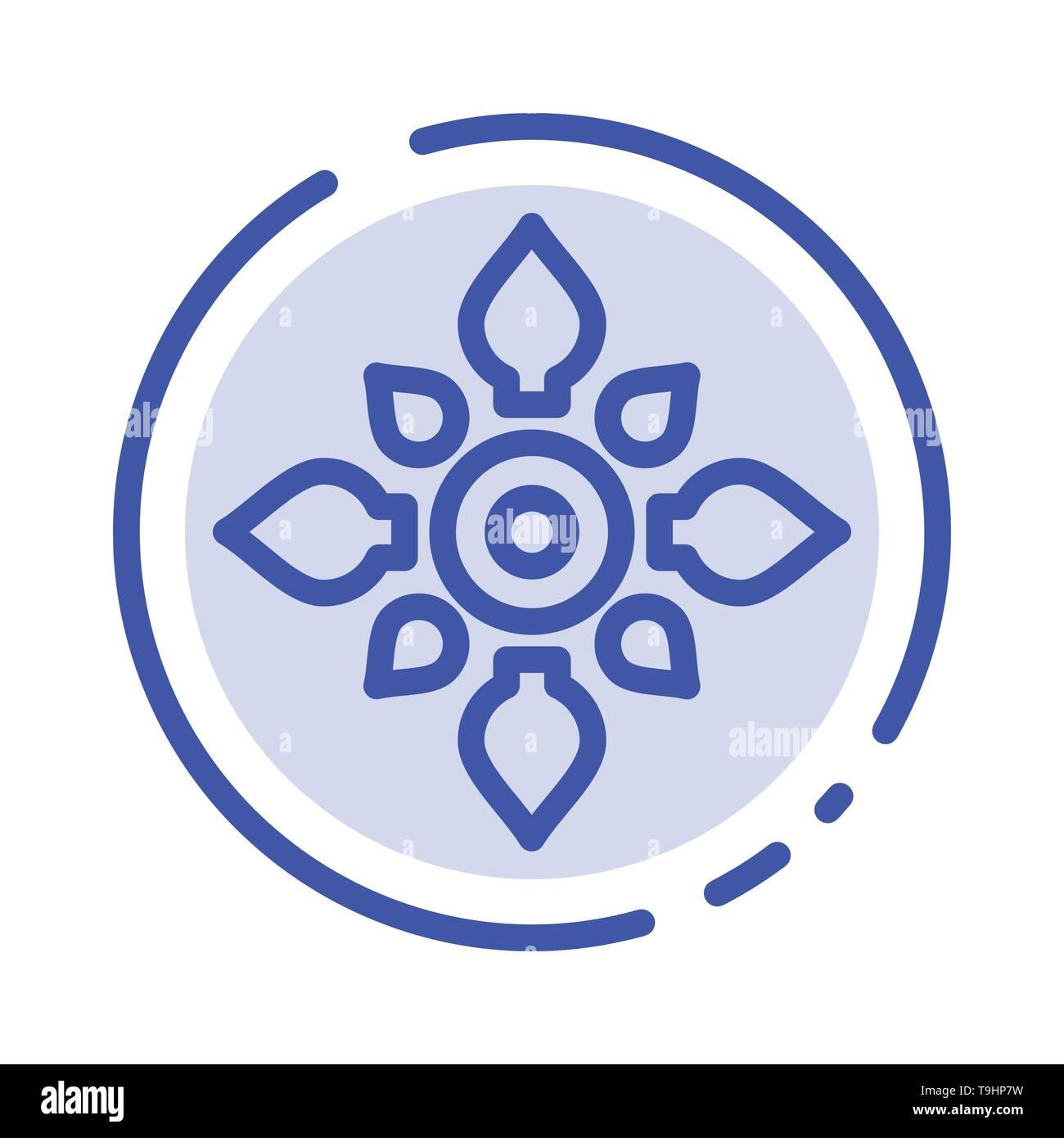 Celebrate, Decorate, Decoration, Diwali, Hindu, Holi Blue Dotted Line Line Icon - Stock Image