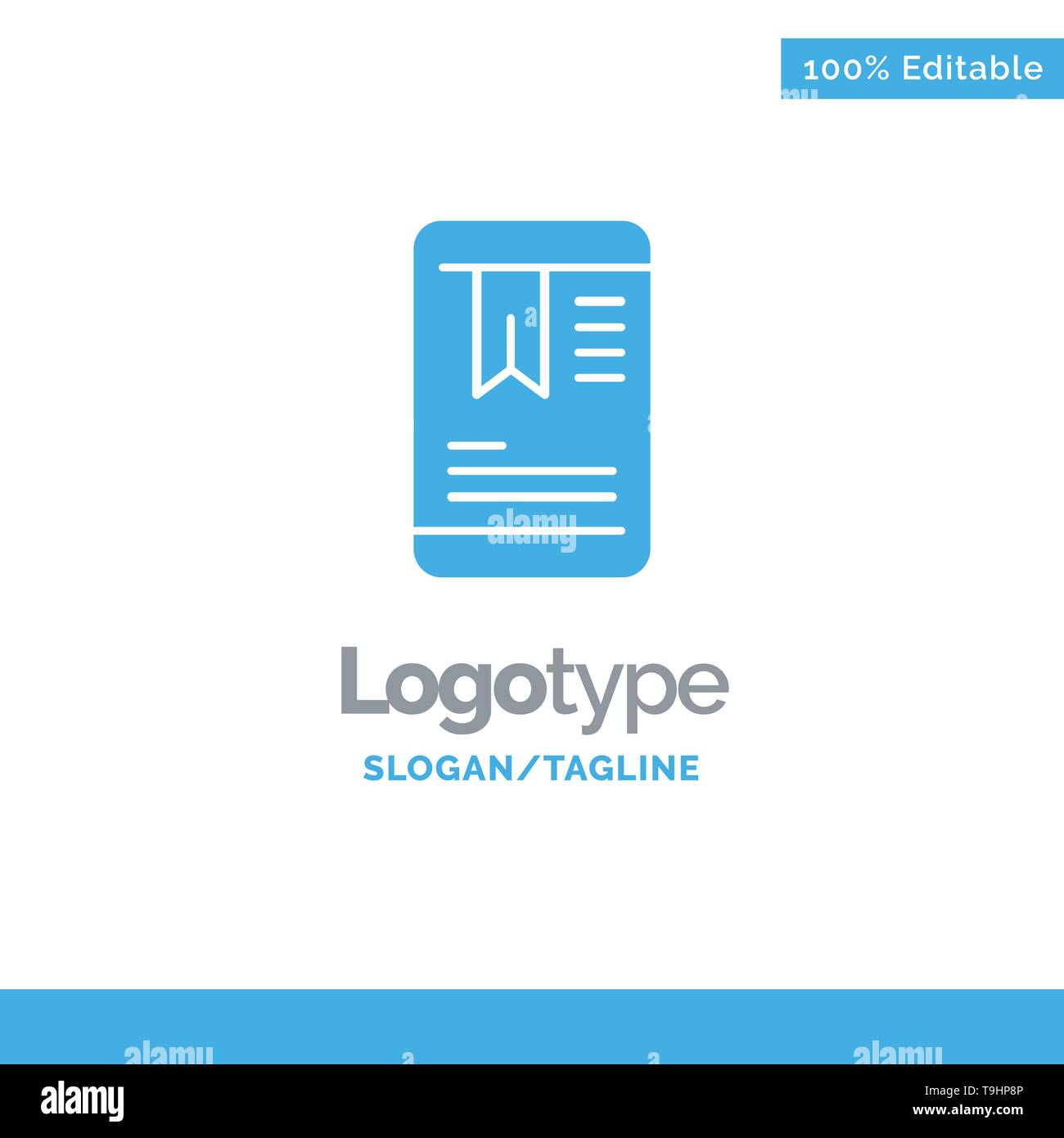 Mobile, Tag, OnEducation Blue Solid Logo Template. Place for Tagline - Stock Image