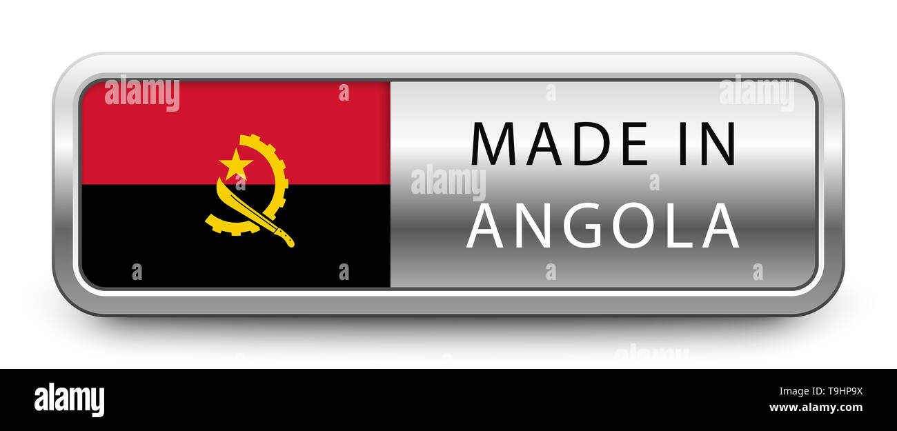 MADE IN ANGOLA metallic badge with national flag - Stock Image
